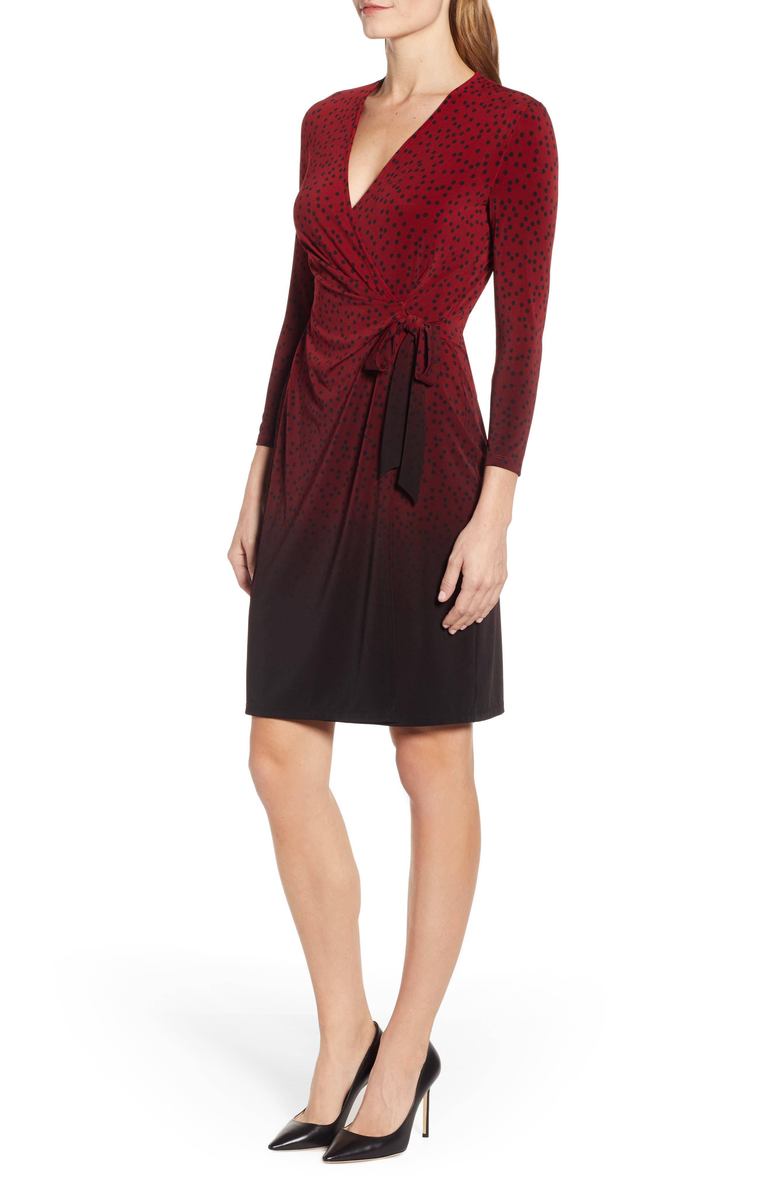 ANNE KLEIN,                             Camille Dot Faux Wrap Dress,                             Alternate thumbnail 3, color,                             DK TITIAN RED/ ANNE BLK COMBO