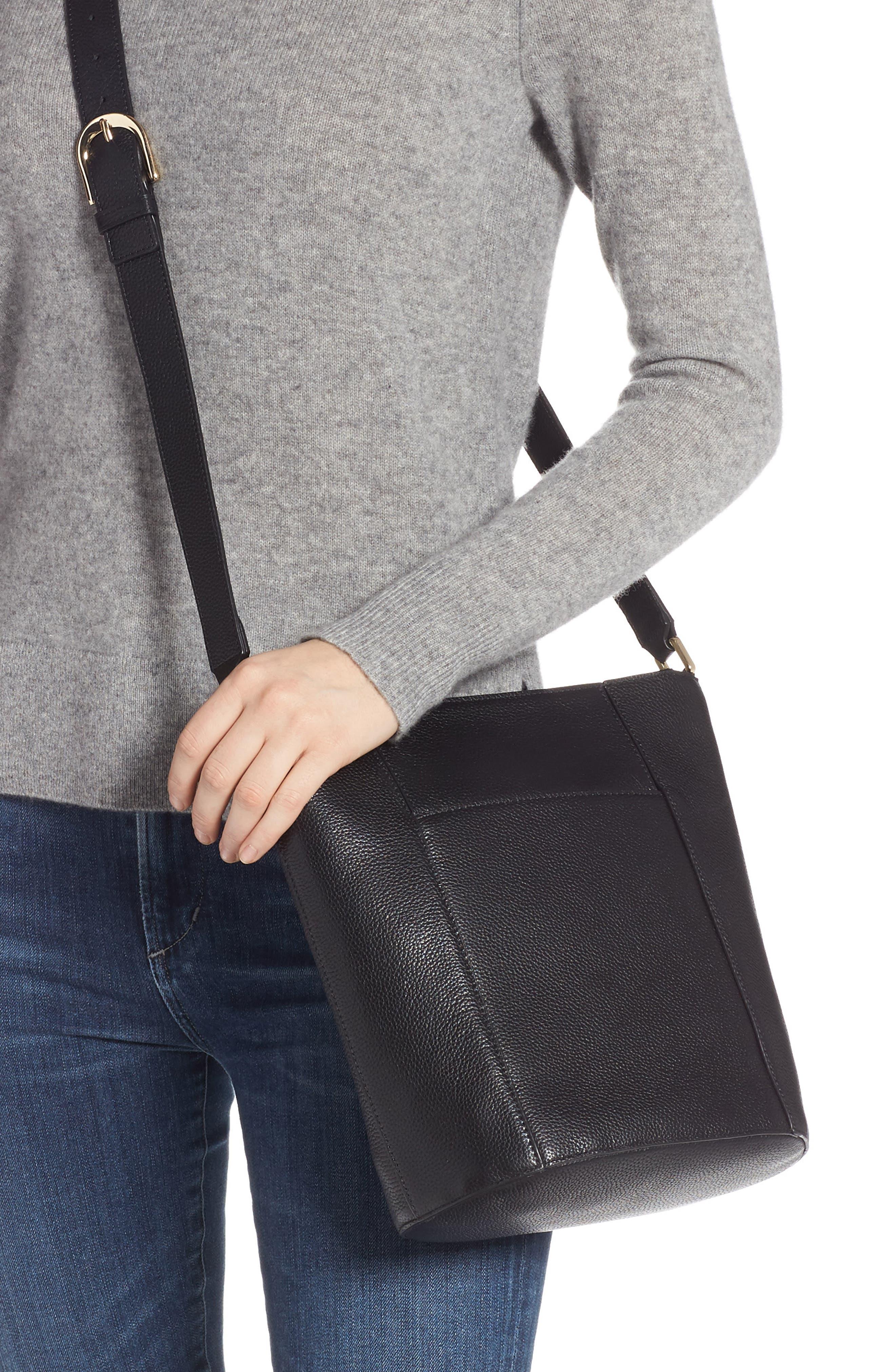 Loraine Leather Bucket Bag,                             Alternate thumbnail 2, color,                             BLACK