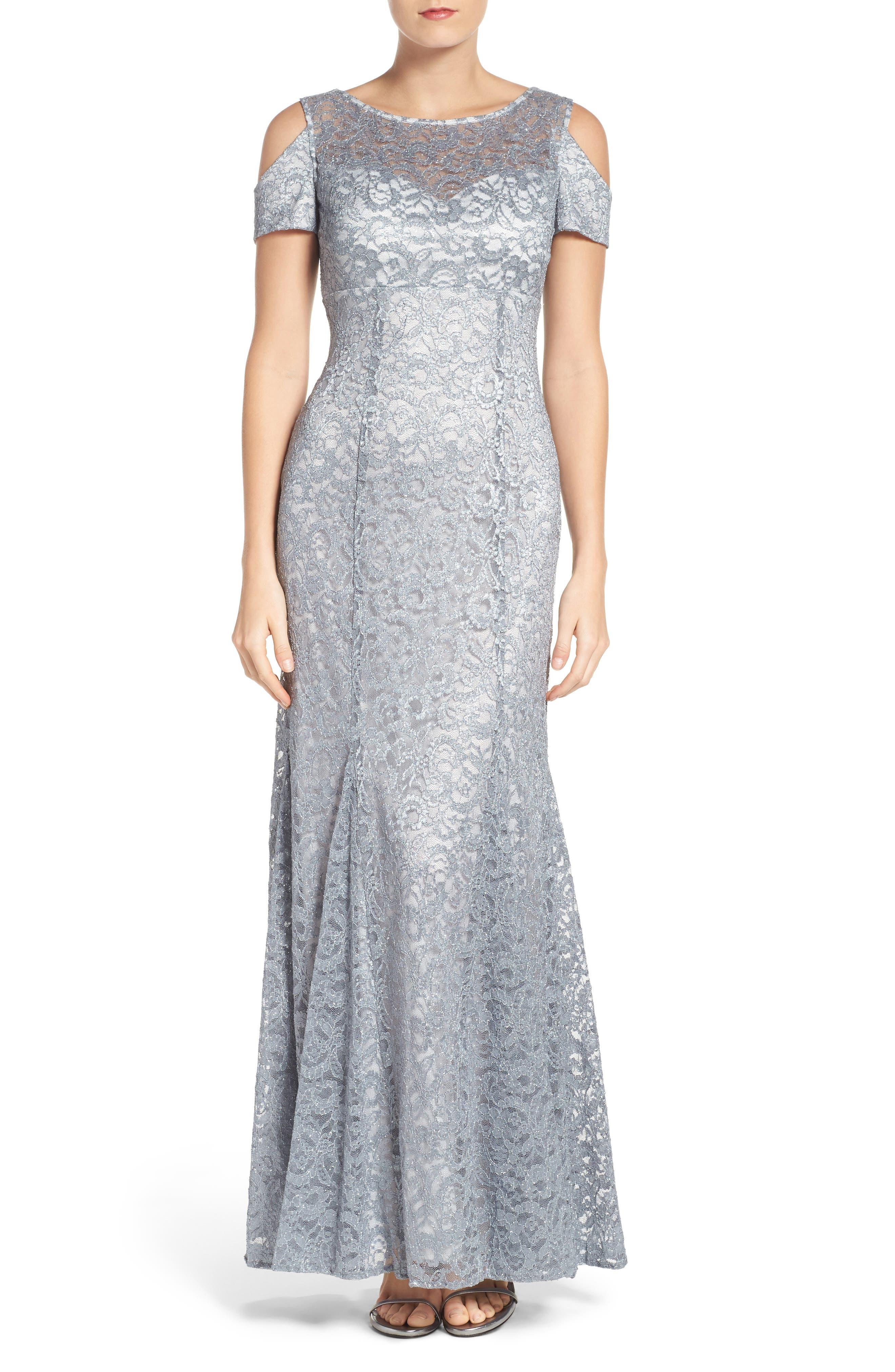 Cold Shoulder Lace Gown,                             Main thumbnail 1, color,