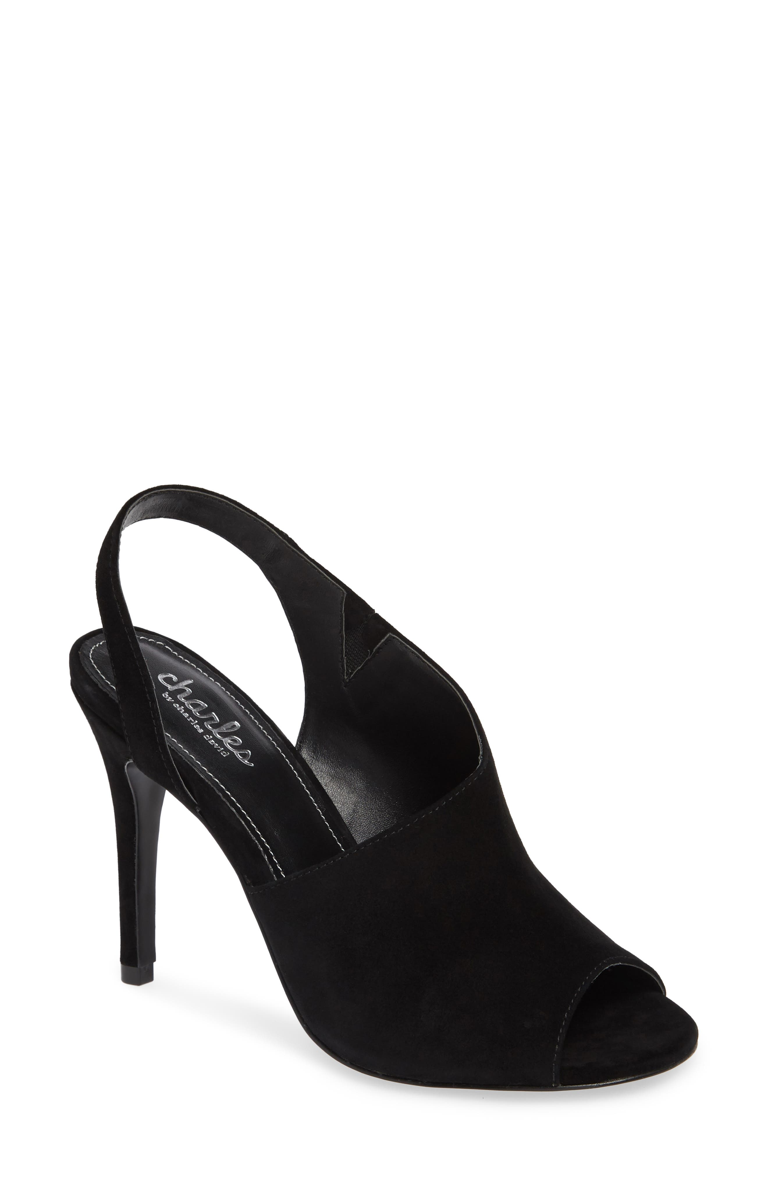 Riot Slingback Sandal,                         Main,                         color, BLACK SUEDE
