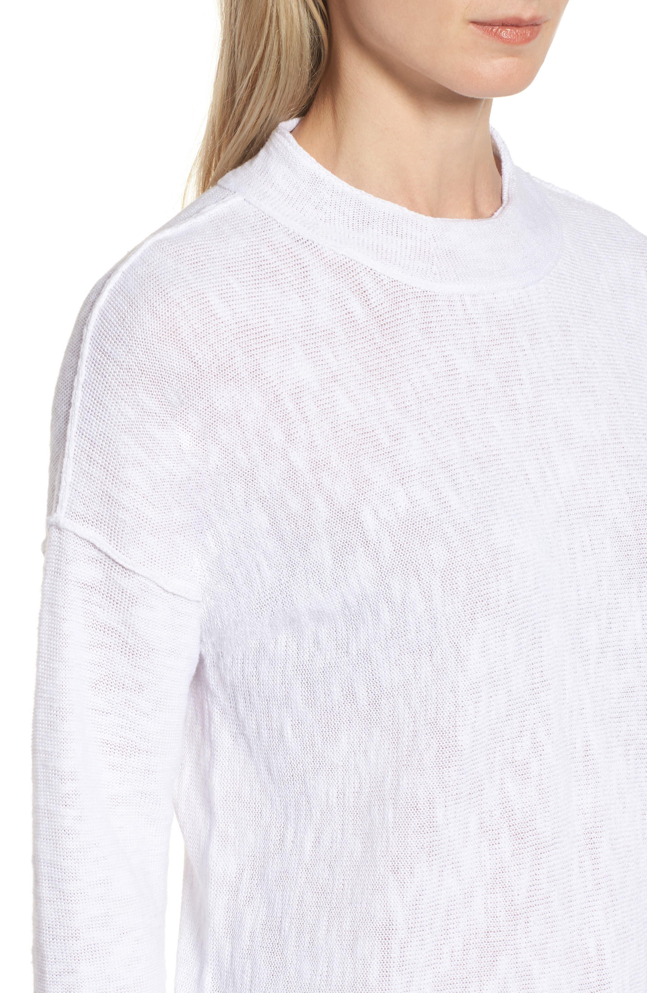 Organic Linen & Cotton Sweater,                             Alternate thumbnail 4, color,                             100