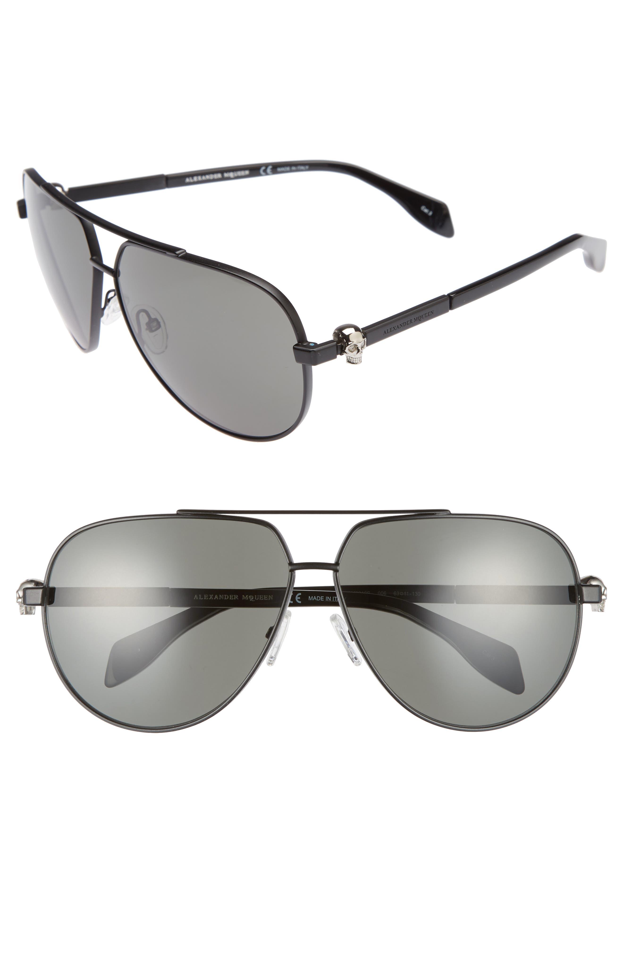 63mm Aviator Sunglasses,                             Main thumbnail 1, color,                             001
