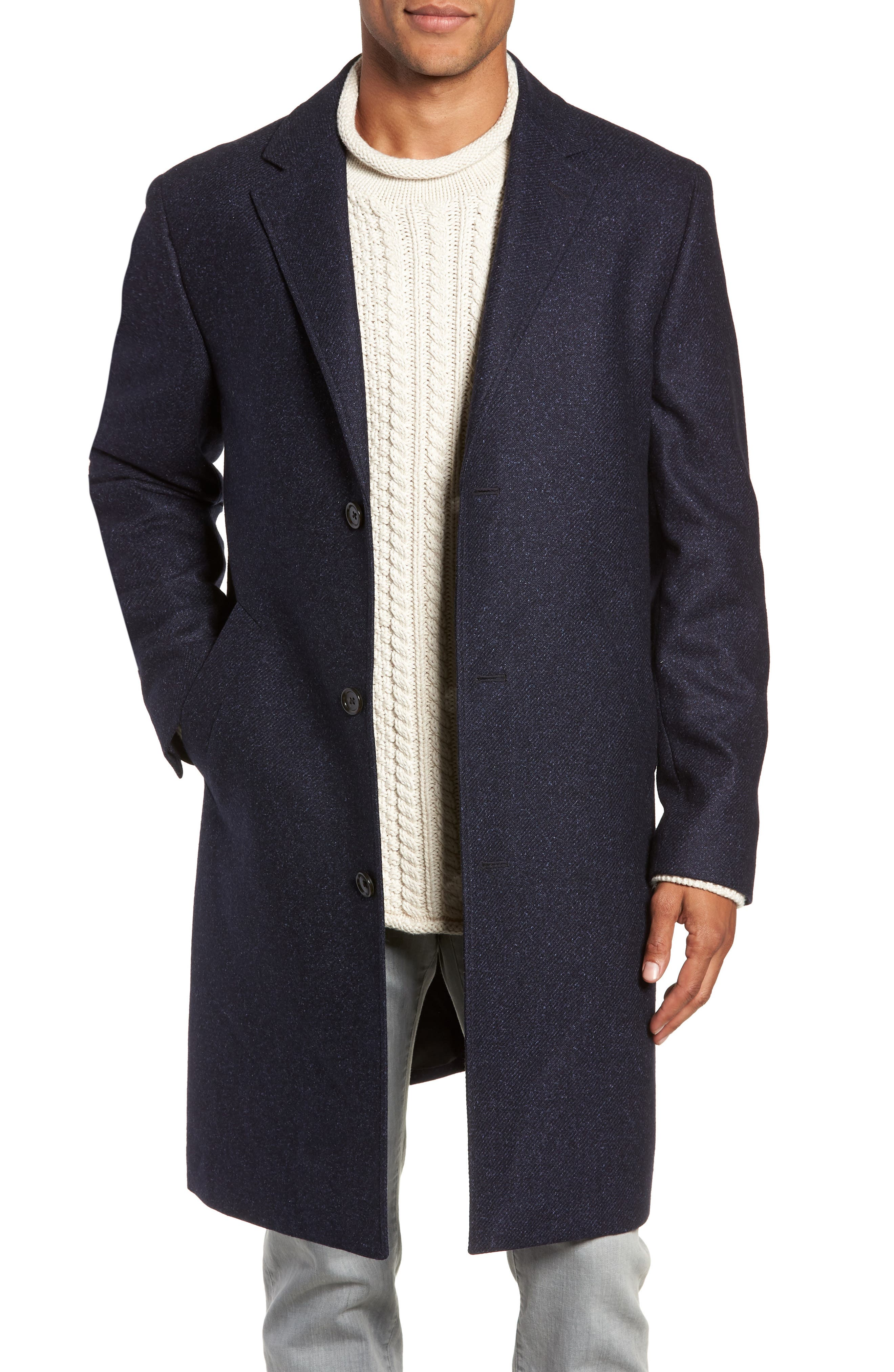 Destination Water Resistant Tweed Topcoat,                             Main thumbnail 1, color,                             400
