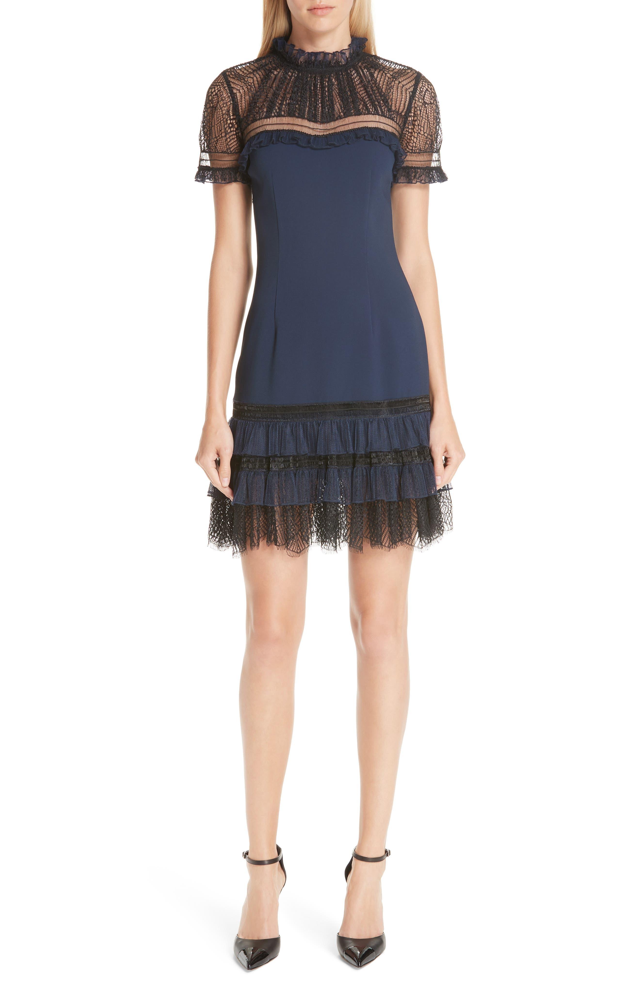 Jonathan Simkhai Tulle Lace Trim Sheath Dress, Blue