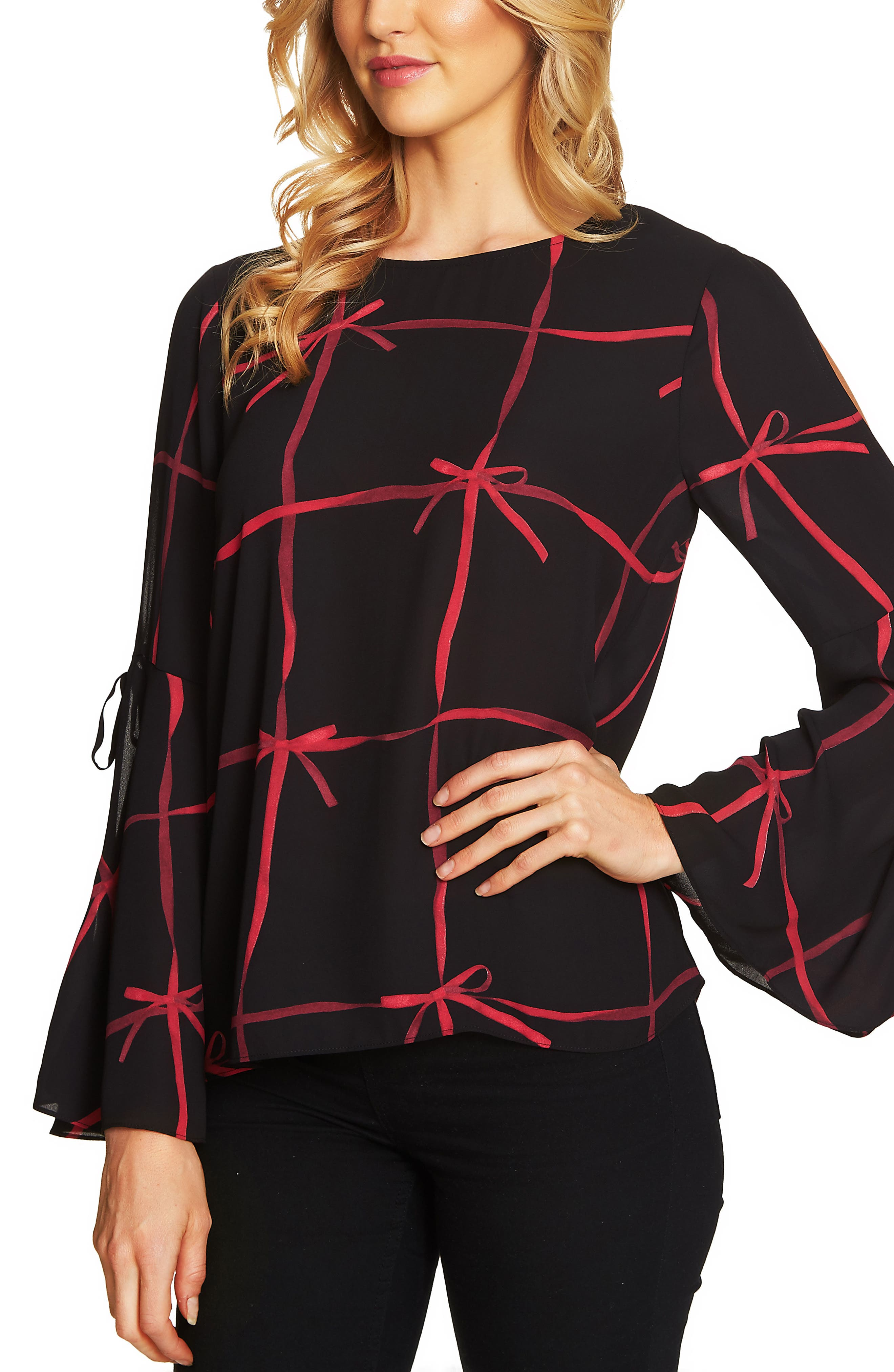 Lattice Ribbons Bell Sleeve Blouse,                             Main thumbnail 1, color,                             001