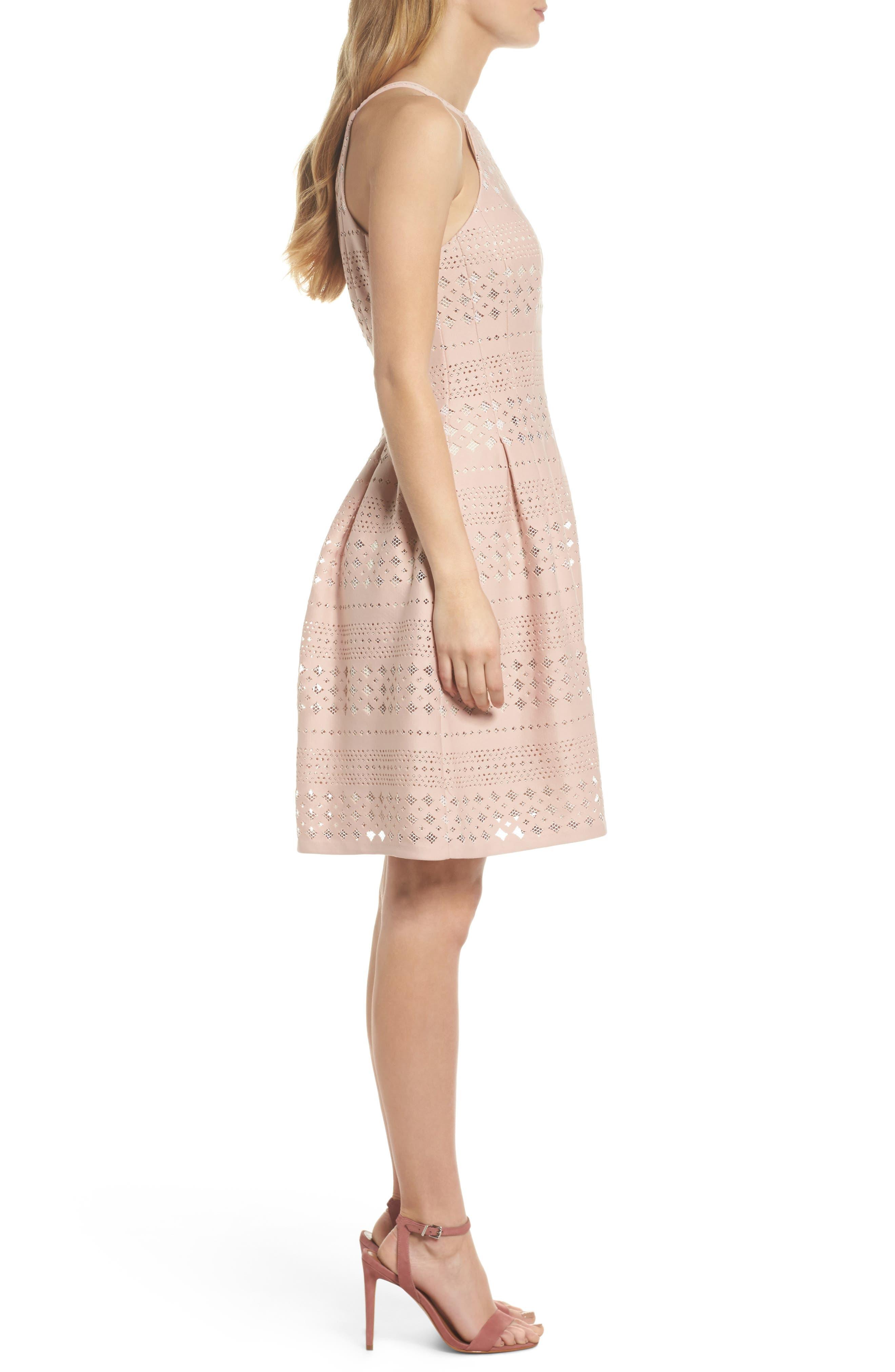 Laser Cut Fit & Flare Halter Dress,                             Alternate thumbnail 8, color,