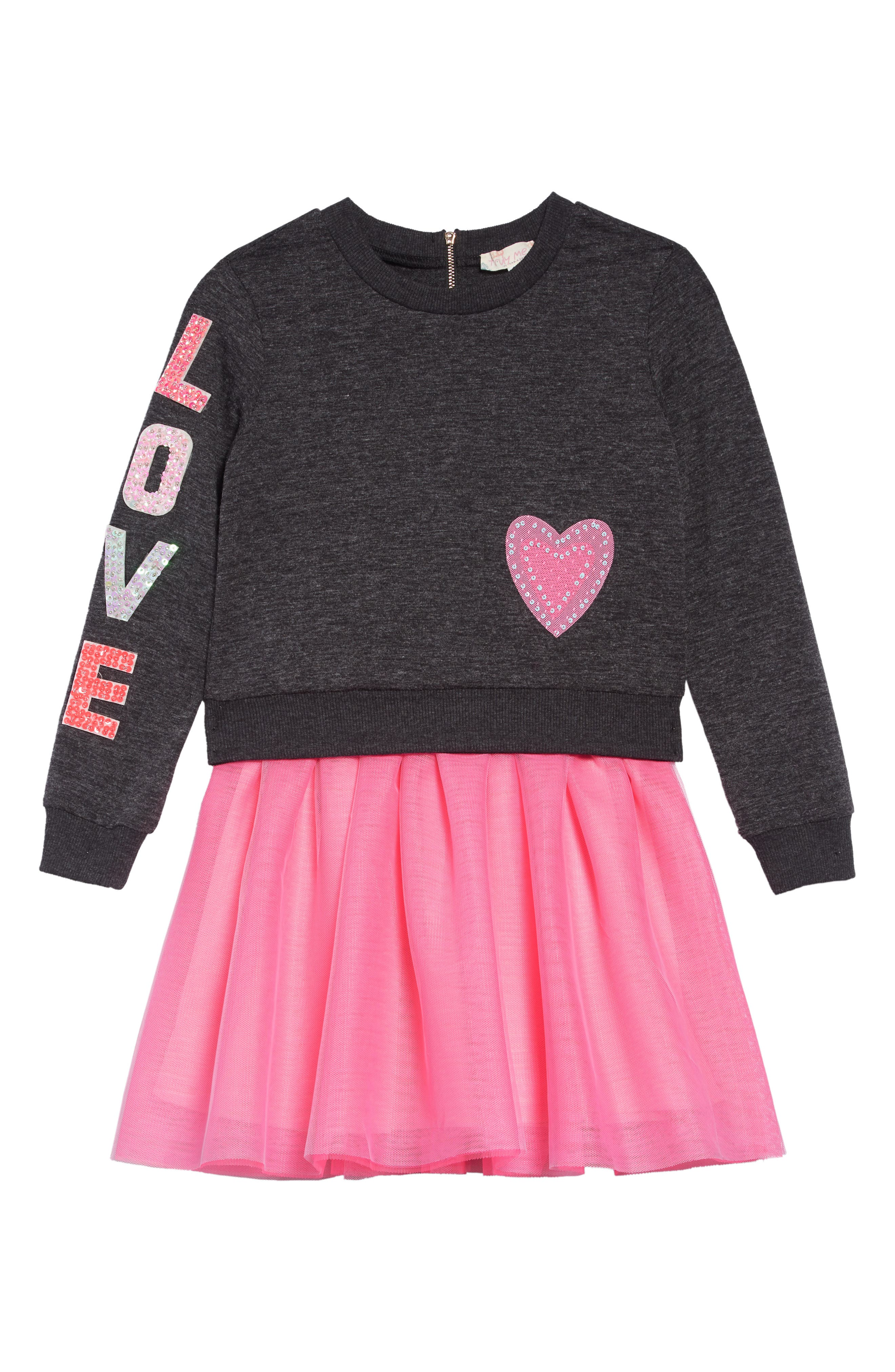 TRULY ME Love Dress Set, Main, color, GREY PINK