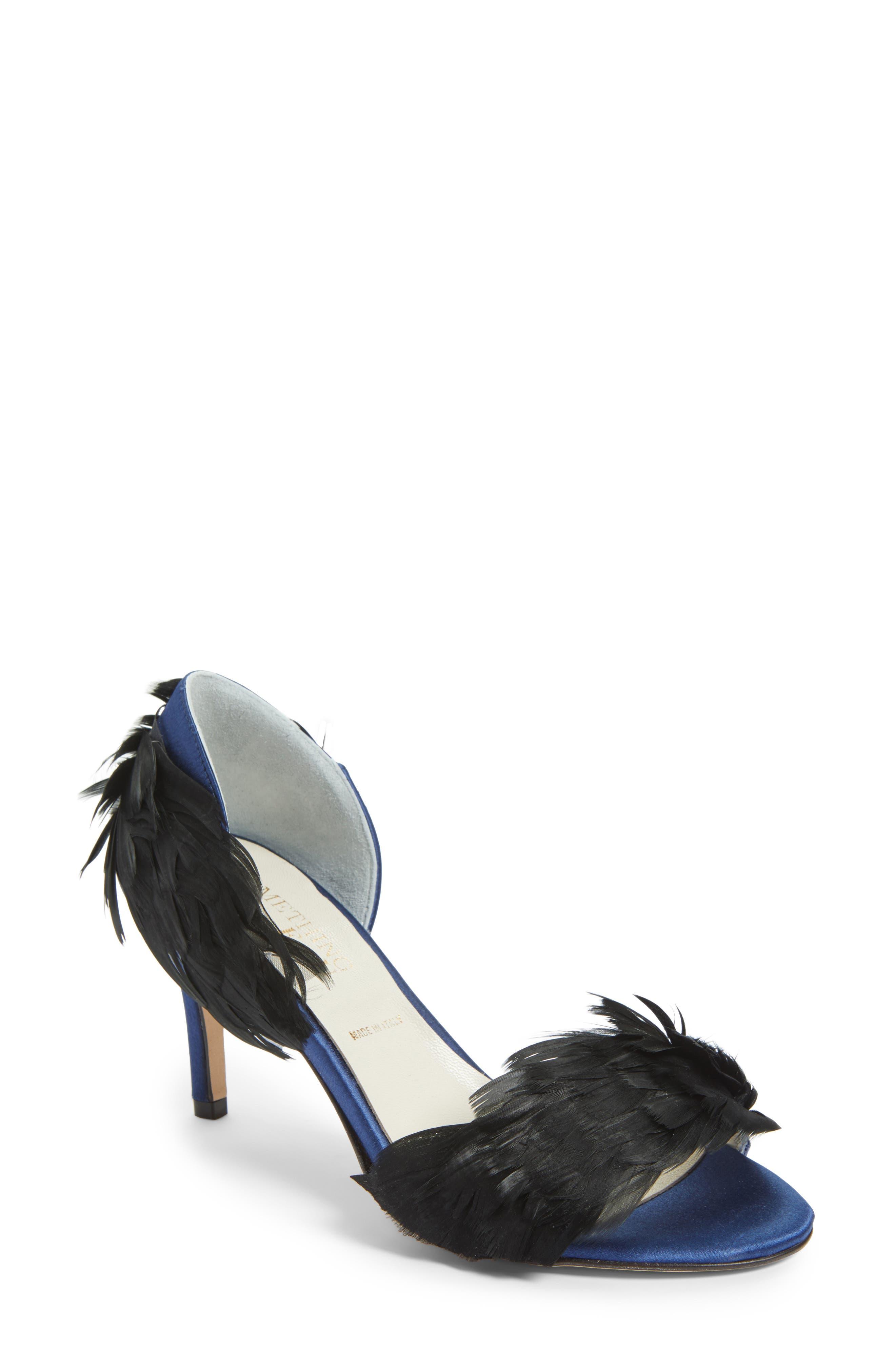 Gigi d'Orsay Sandal,                         Main,                         color, NAVY SATIN
