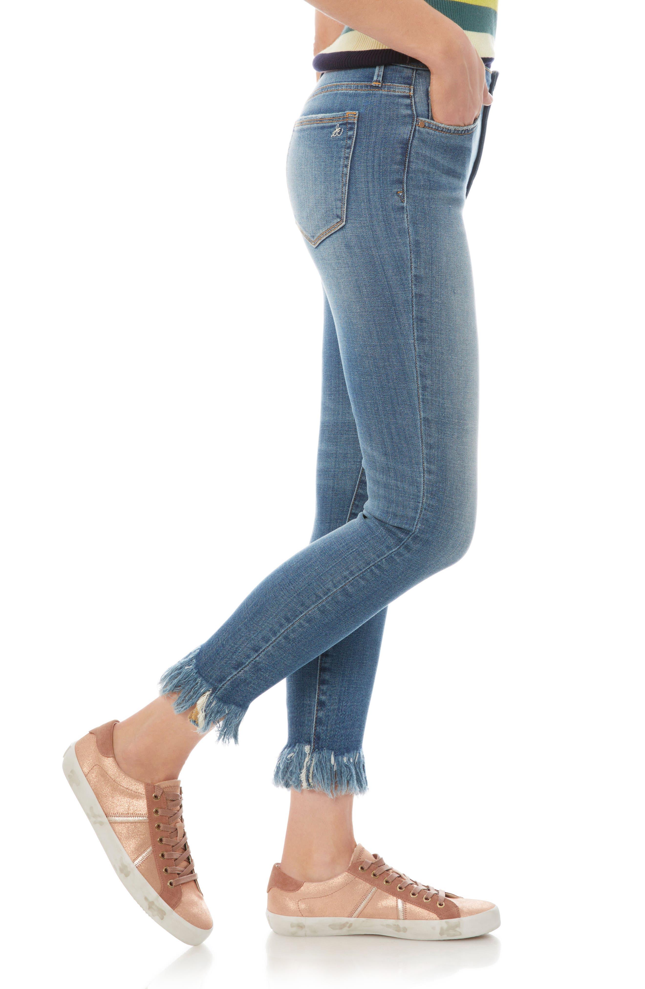 The Stiletto Fringe Hem Crop Jeans,                             Alternate thumbnail 3, color,                             410