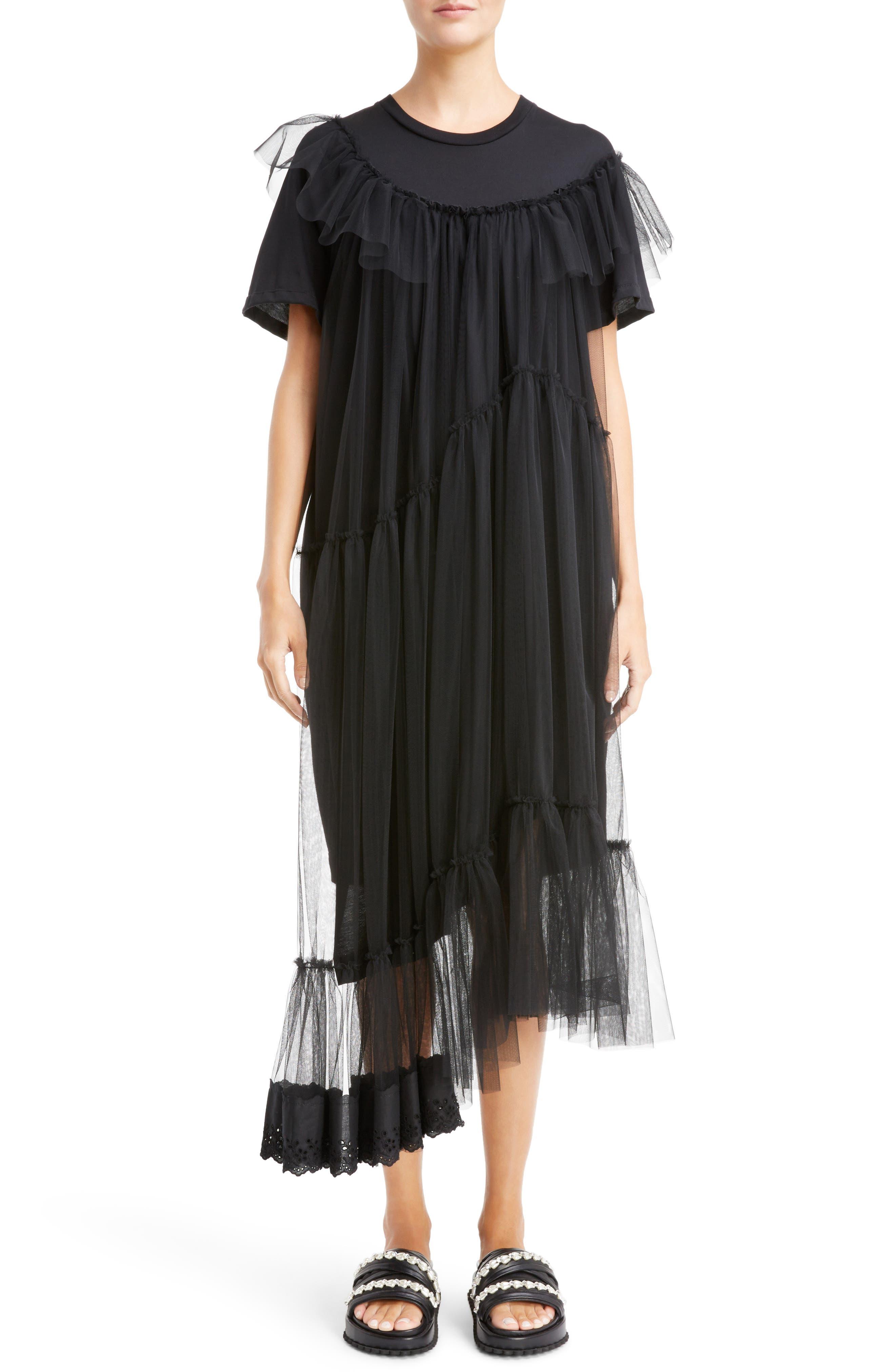 Long Jersey & Tulle T-Shirt Dress,                         Main,                         color, 001