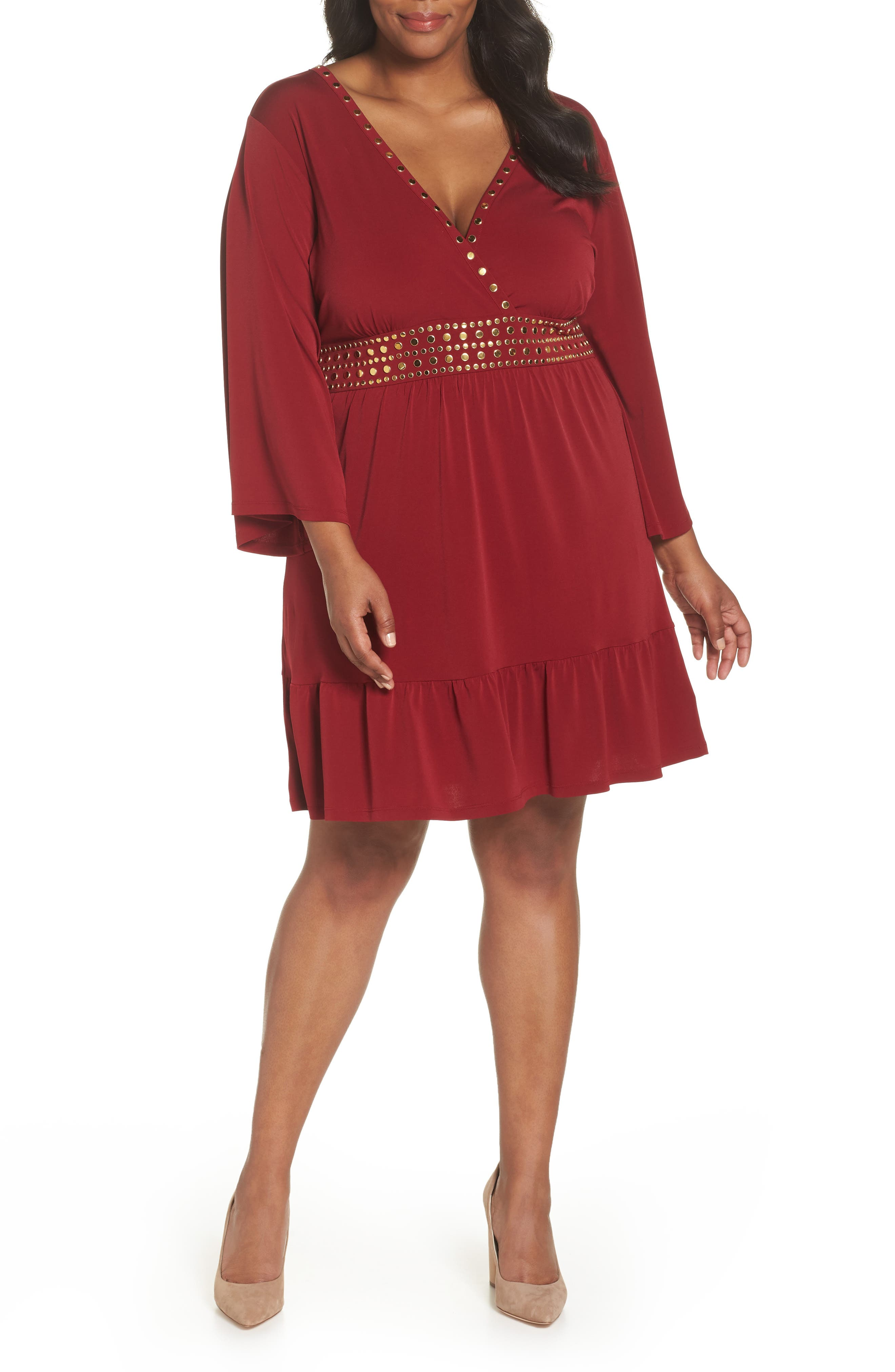 Studded V-Neck Dress,                             Main thumbnail 1, color,                             MAROON