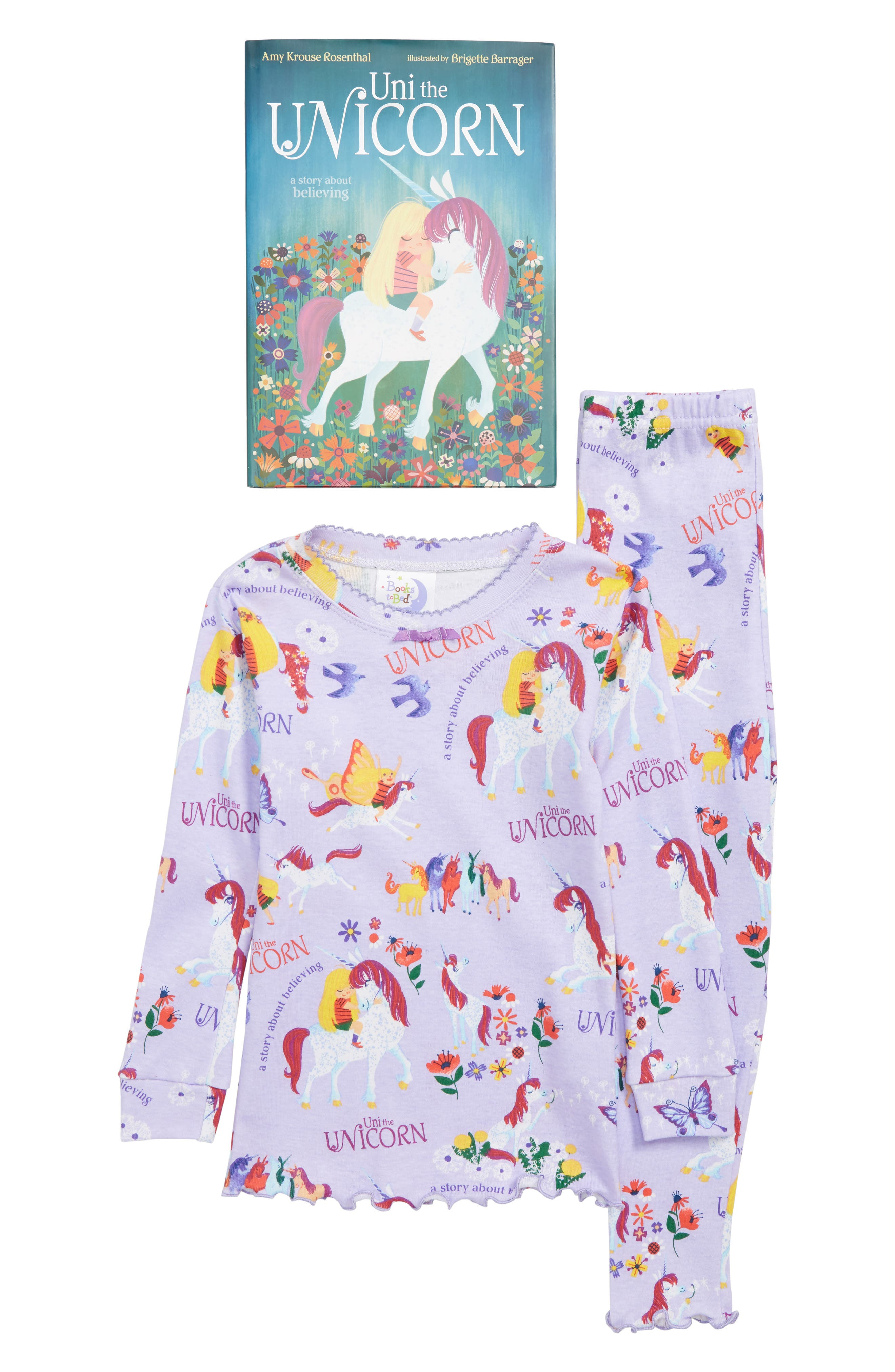 Uni the Unicorn Fitted Two-Piece Pajamas & Book Set,                             Main thumbnail 1, color,                             LAVENDER