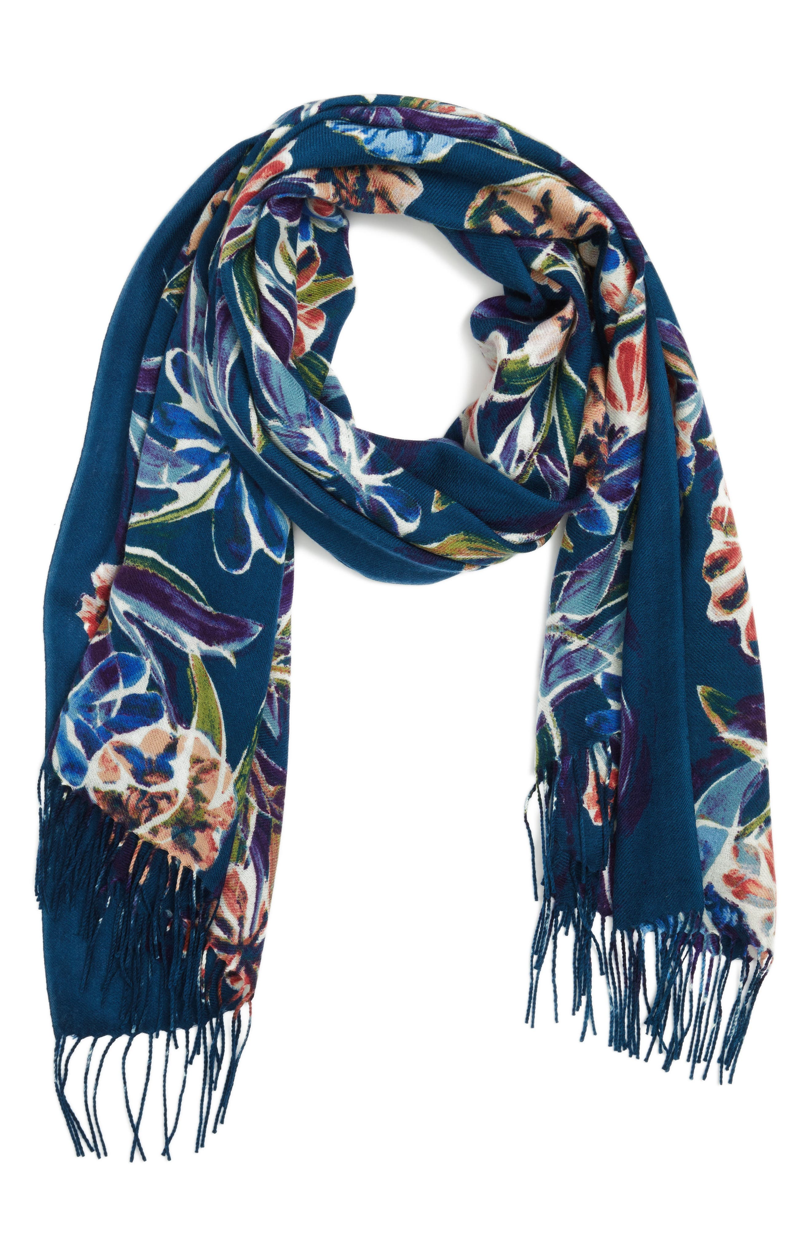 Pressed Flowers Tissue Weight Wool & Cashmere Scarf,                             Alternate thumbnail 5, color,