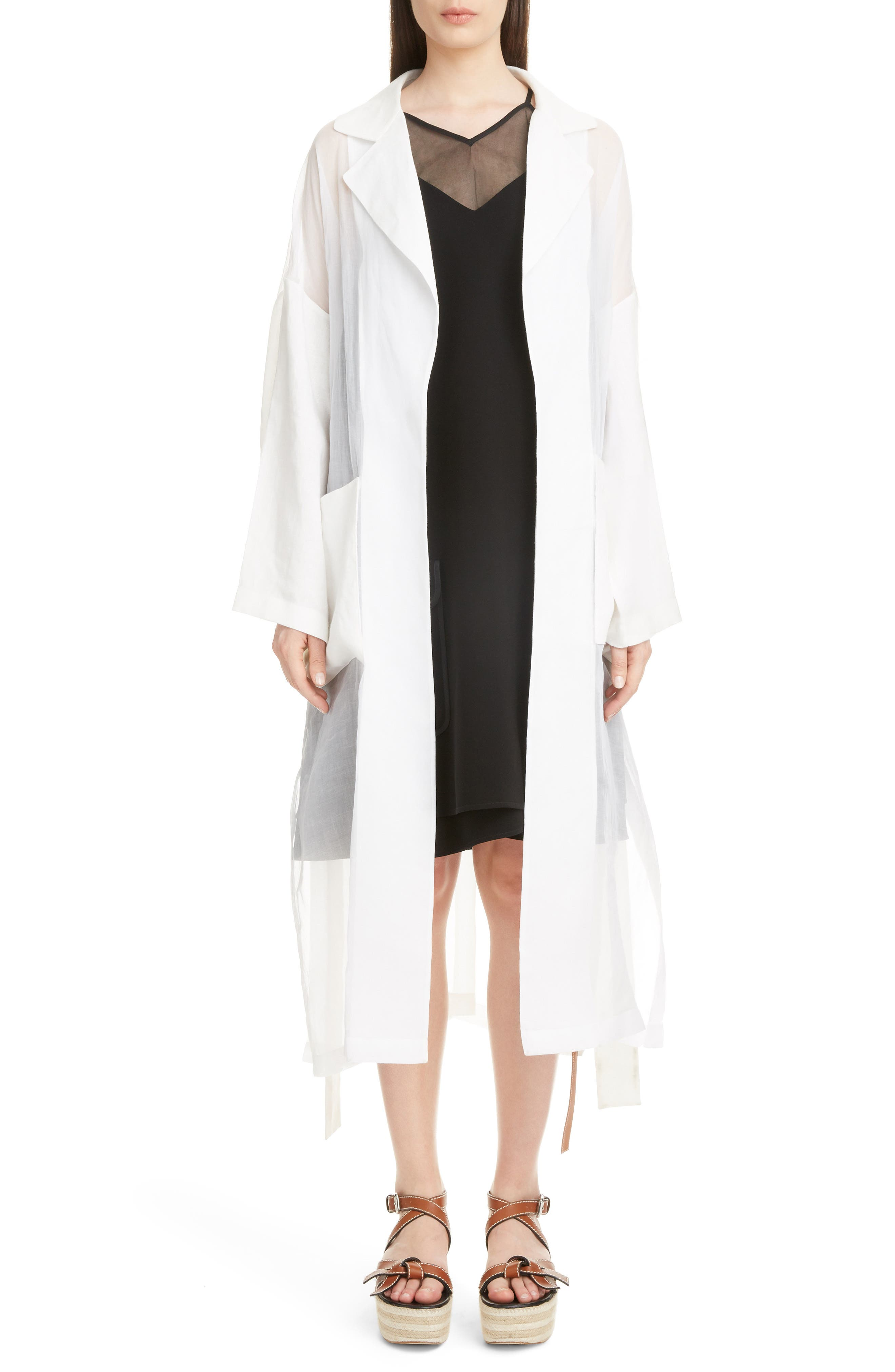 Sheer Cotton & Linen Trench Coat, Main, color, WHITE
