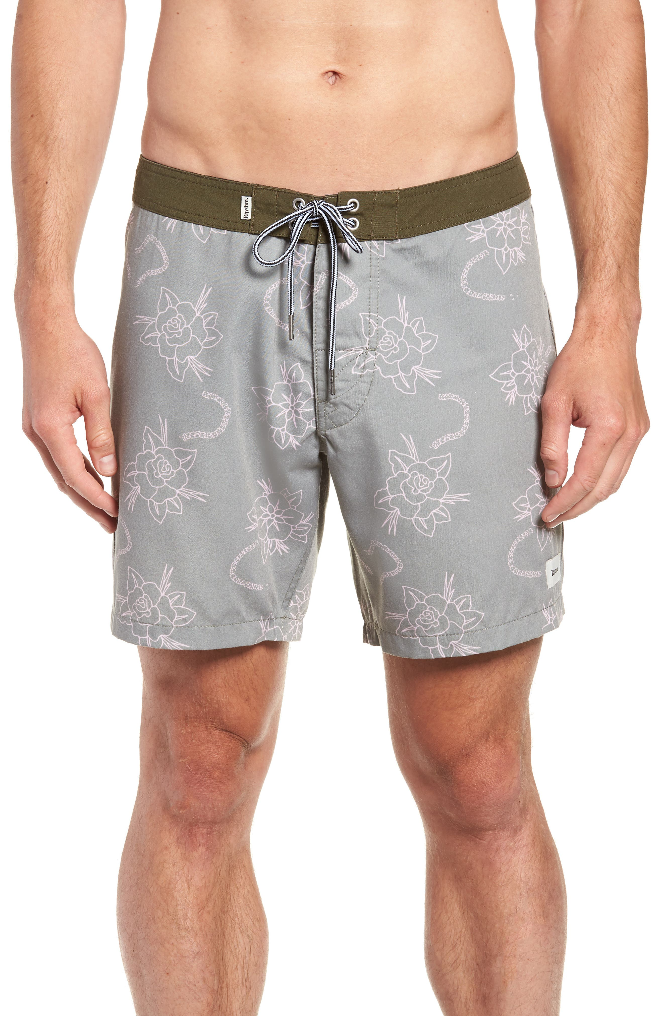 Island Swim Trunks,                         Main,                         color, OLIVE