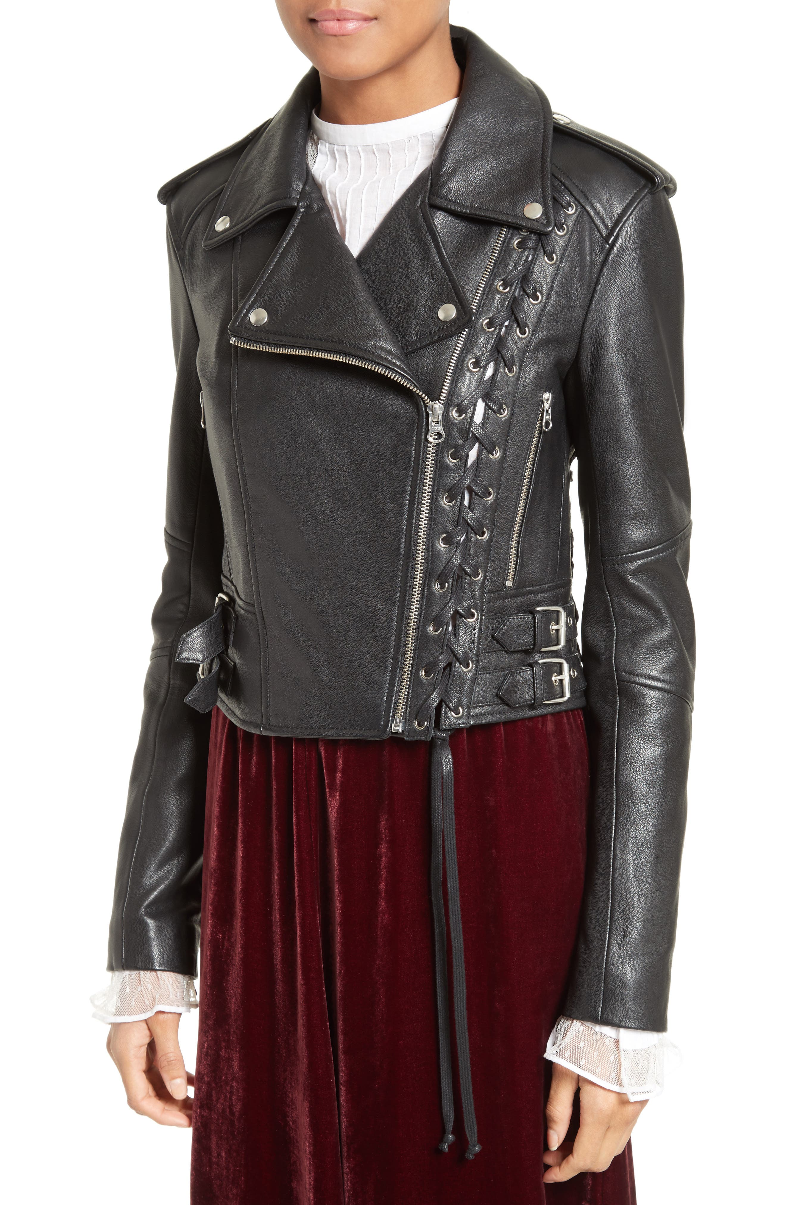 Lace-Up Leather Jacket,                             Alternate thumbnail 4, color,                             001