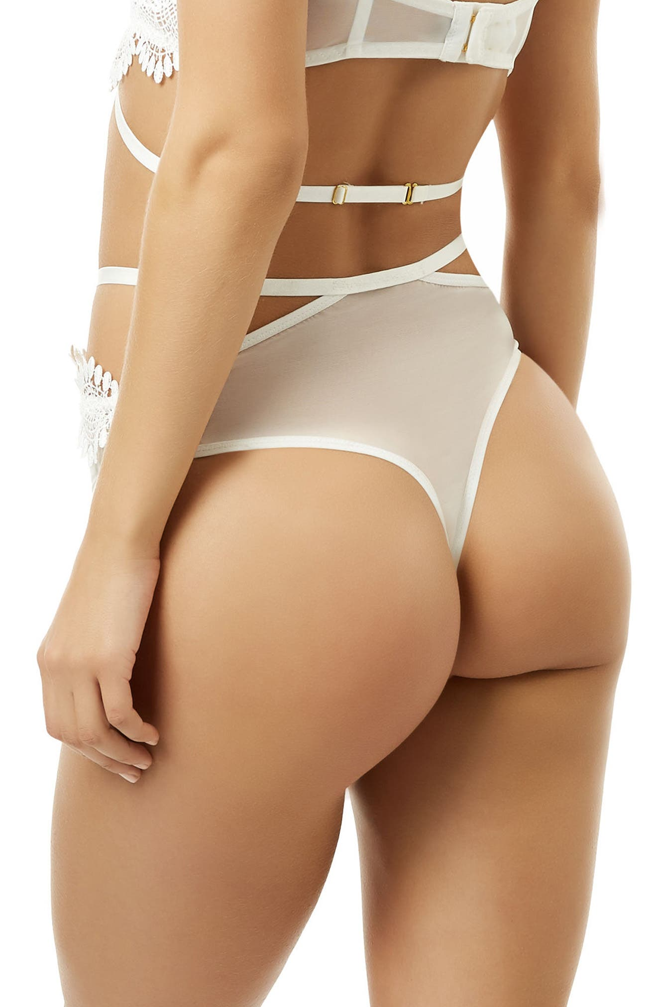 Gabriela High Waist Thong,                             Alternate thumbnail 2, color,                             100