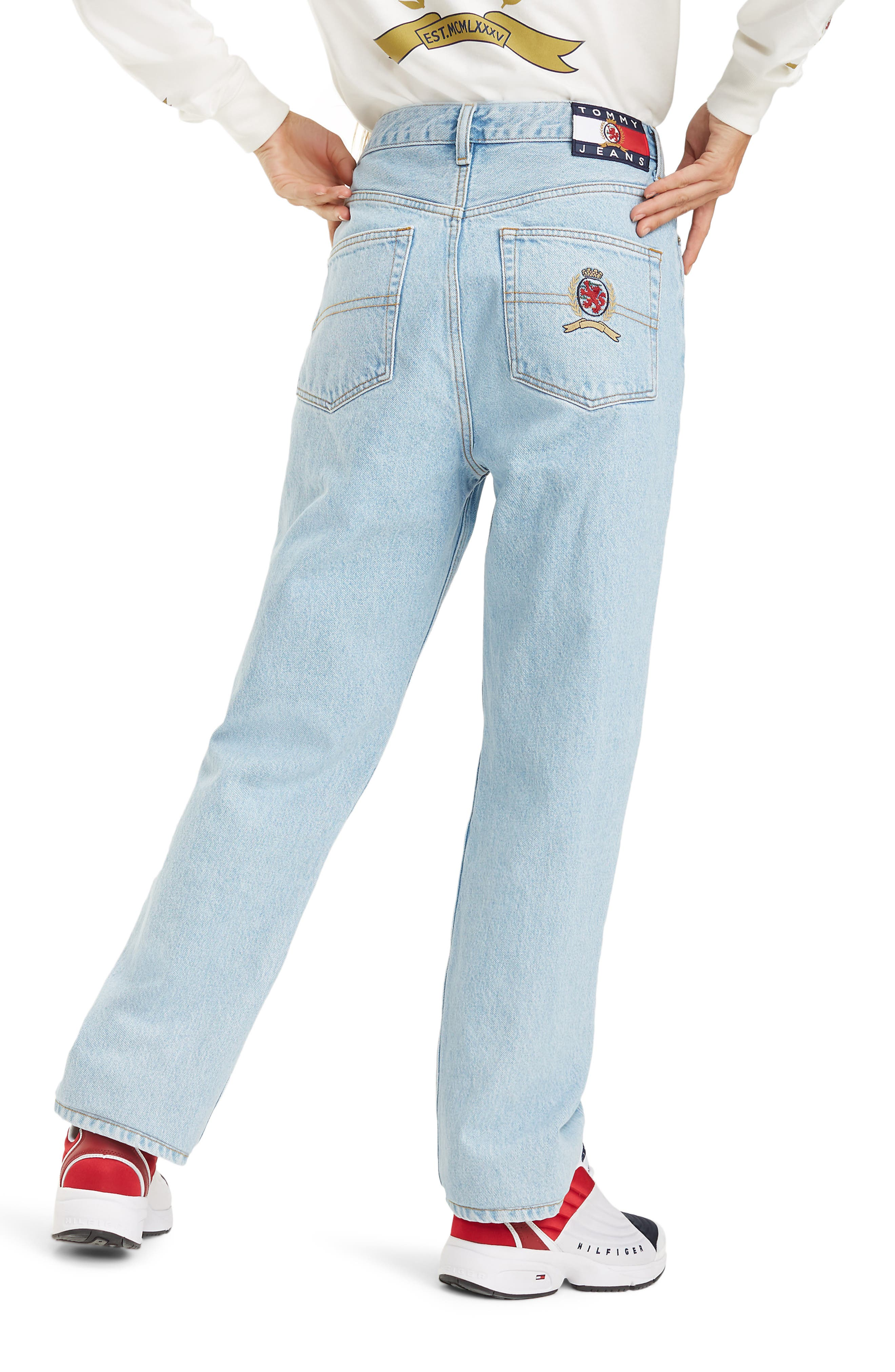 Crest Capsule Mom Jeans,                             Alternate thumbnail 2, color,                             LIGHT BLUE DENIM