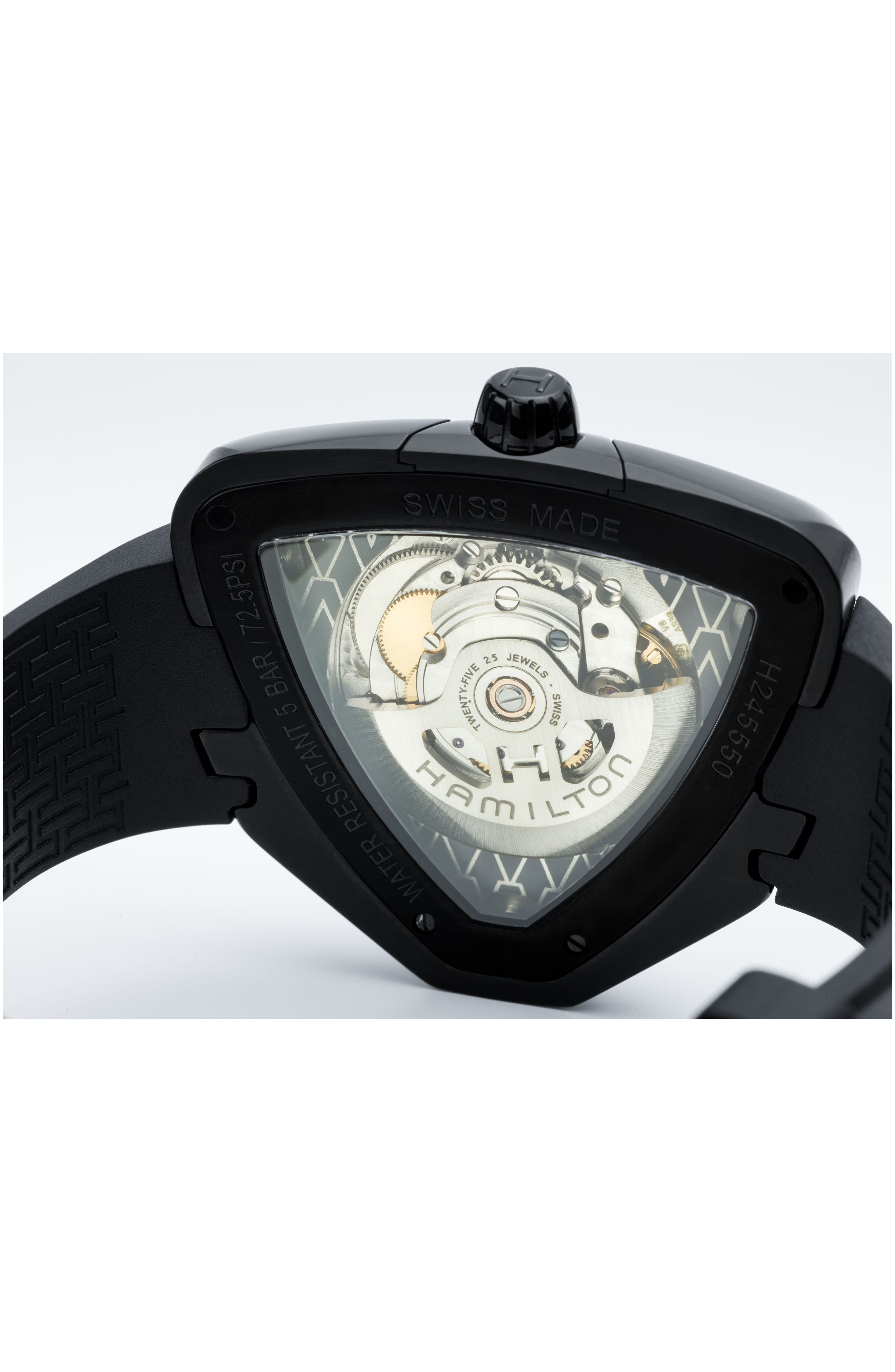 Ventura Elvis80 Automatic Silicone Strap Watch, 42.5mm x 44.5mm,                             Alternate thumbnail 5, color,                             001