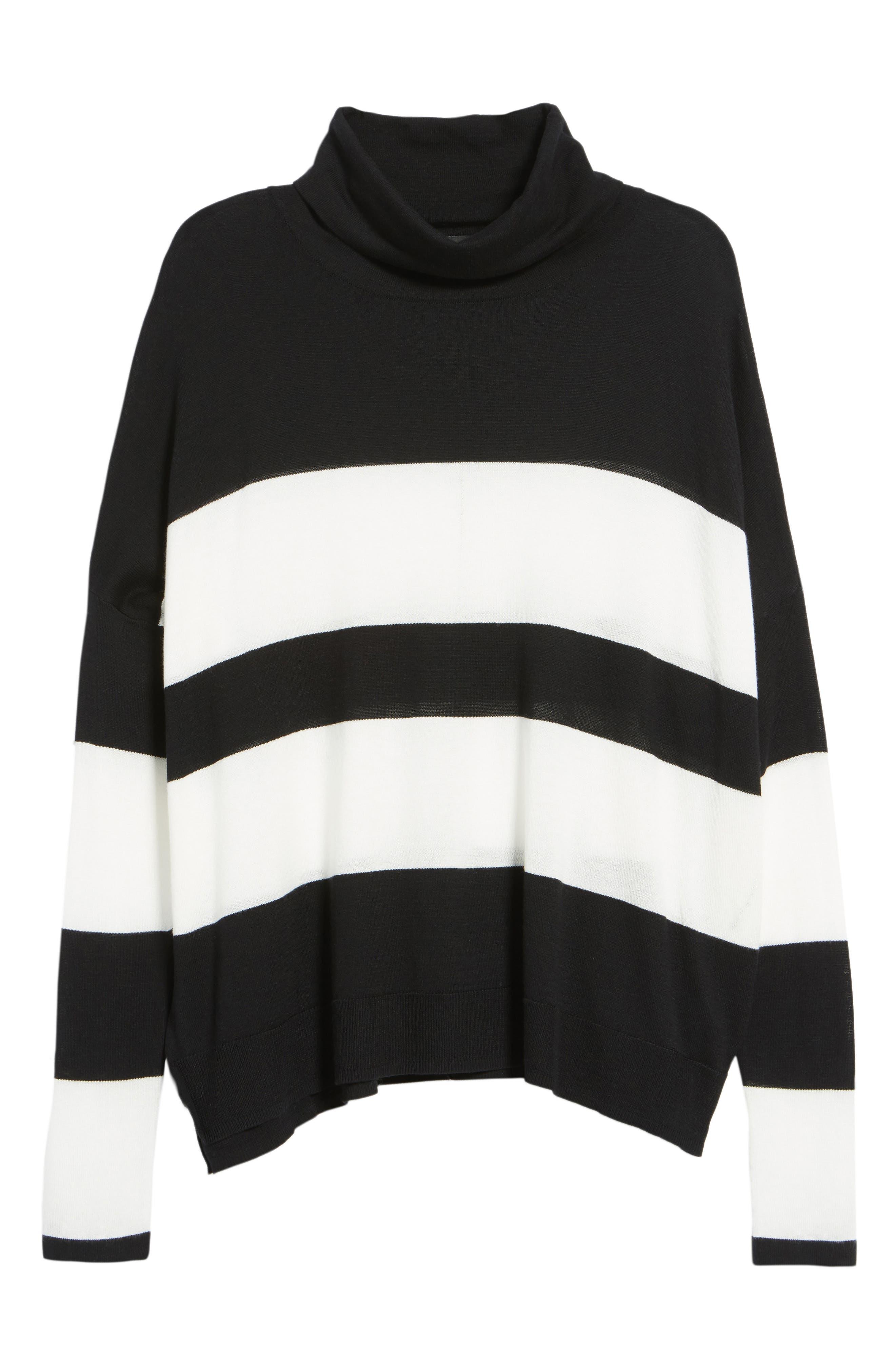 Wide Stripe Turtleneck Sweater,                             Alternate thumbnail 6, color,                             001