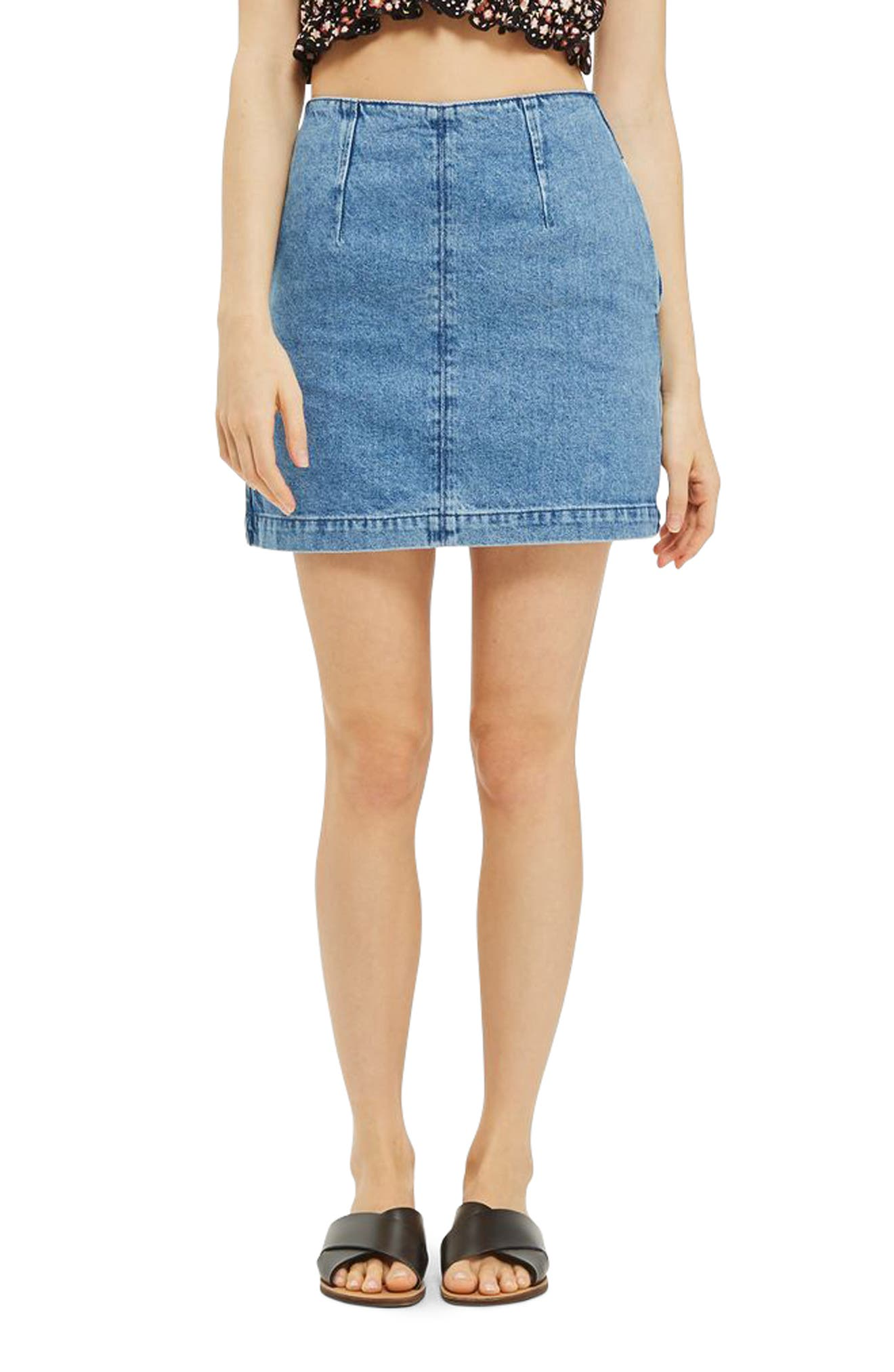 A-Line Denim Miniskirt,                         Main,                         color, 400