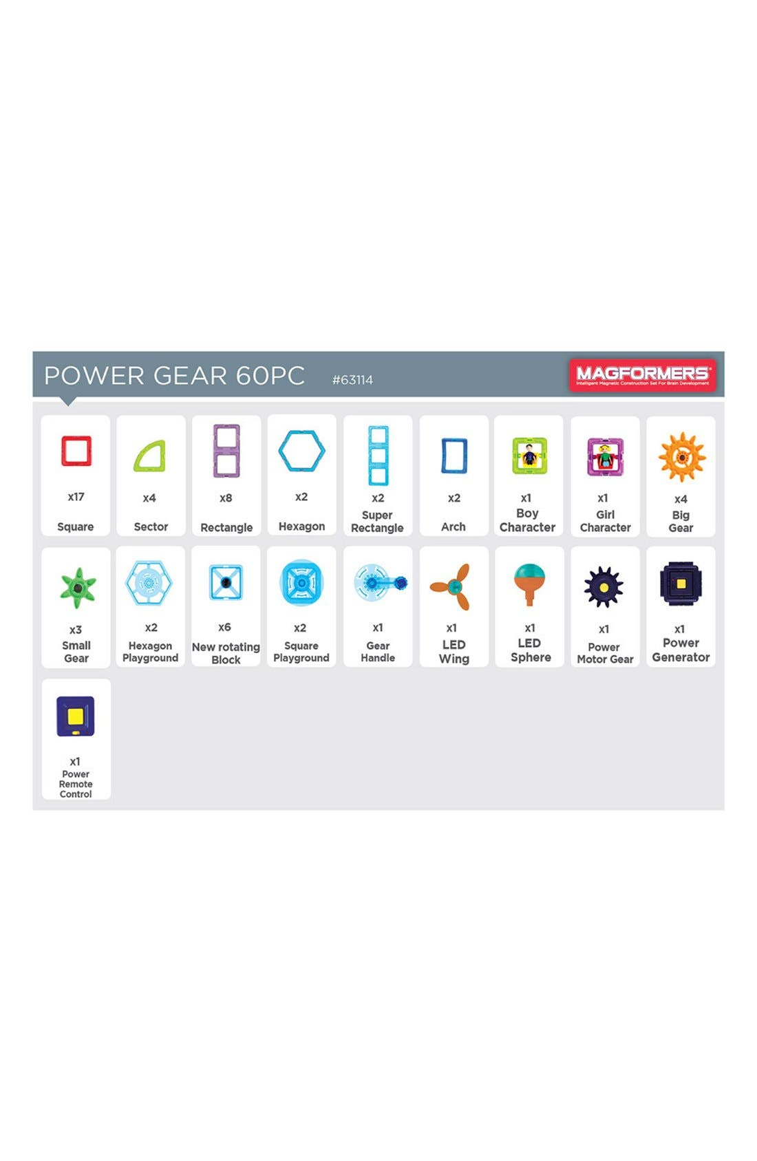 'Power Gear' Lighted & Powered Magnetic Construction Set,                             Alternate thumbnail 6, color,                             Rainbow