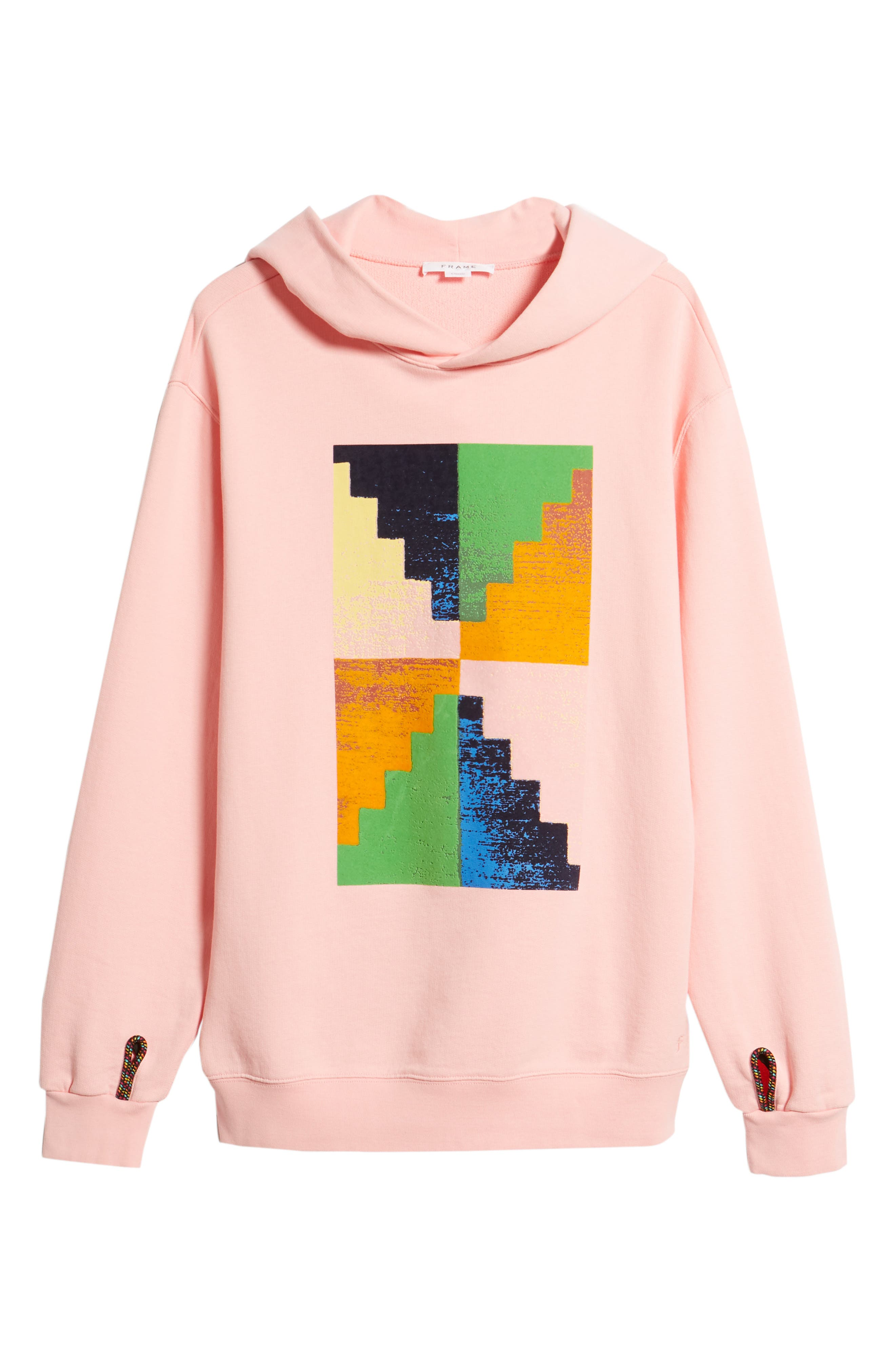 Pyramid Classic Fit Hoodie,                             Alternate thumbnail 6, color,                             CANDY PINK