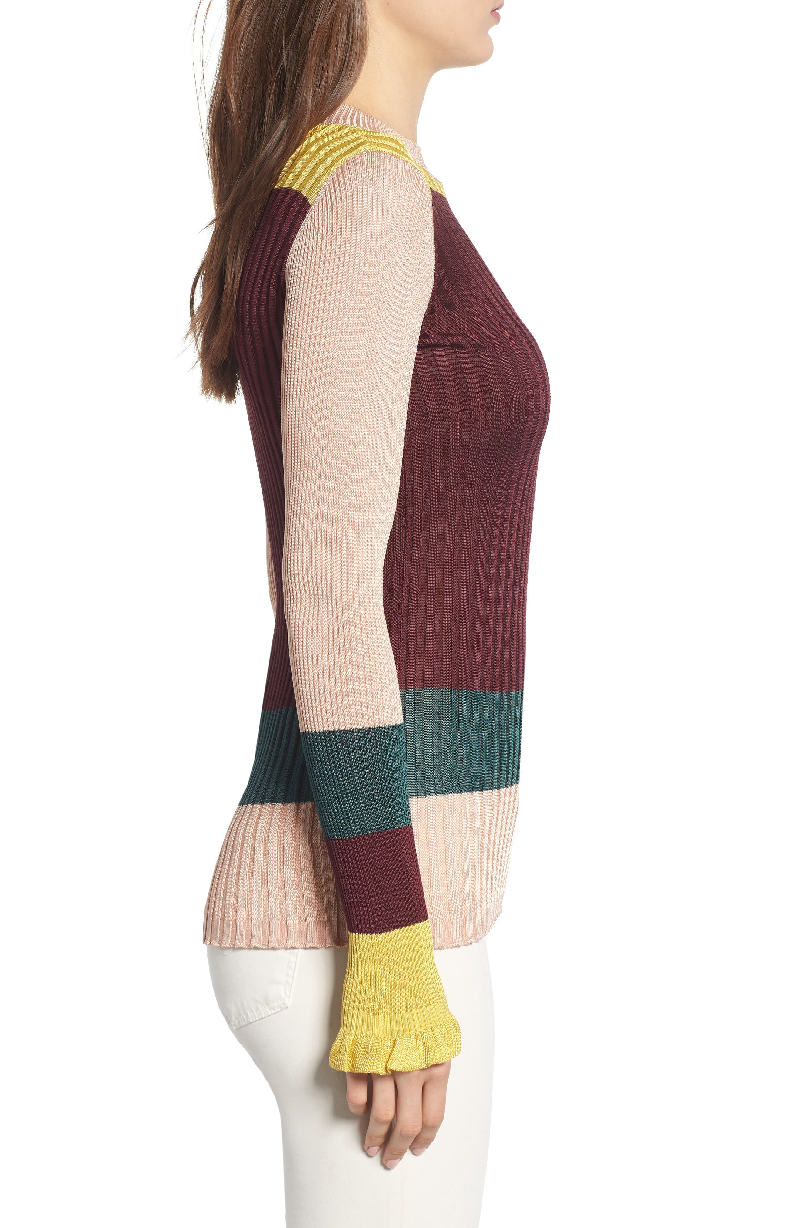 Colorblock Ribbed Sweater,                             Alternate thumbnail 3, color,                             BURGUNDY NUDE YELLOW