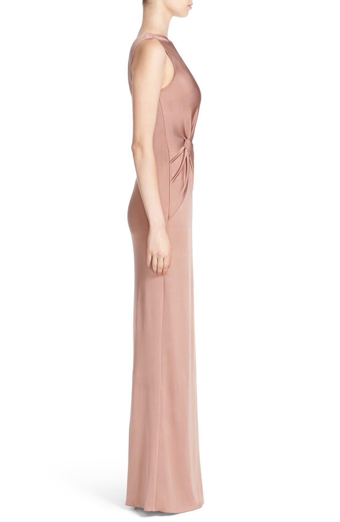 One-Shoulder Twist Gown,                             Alternate thumbnail 4, color,                             DUNE