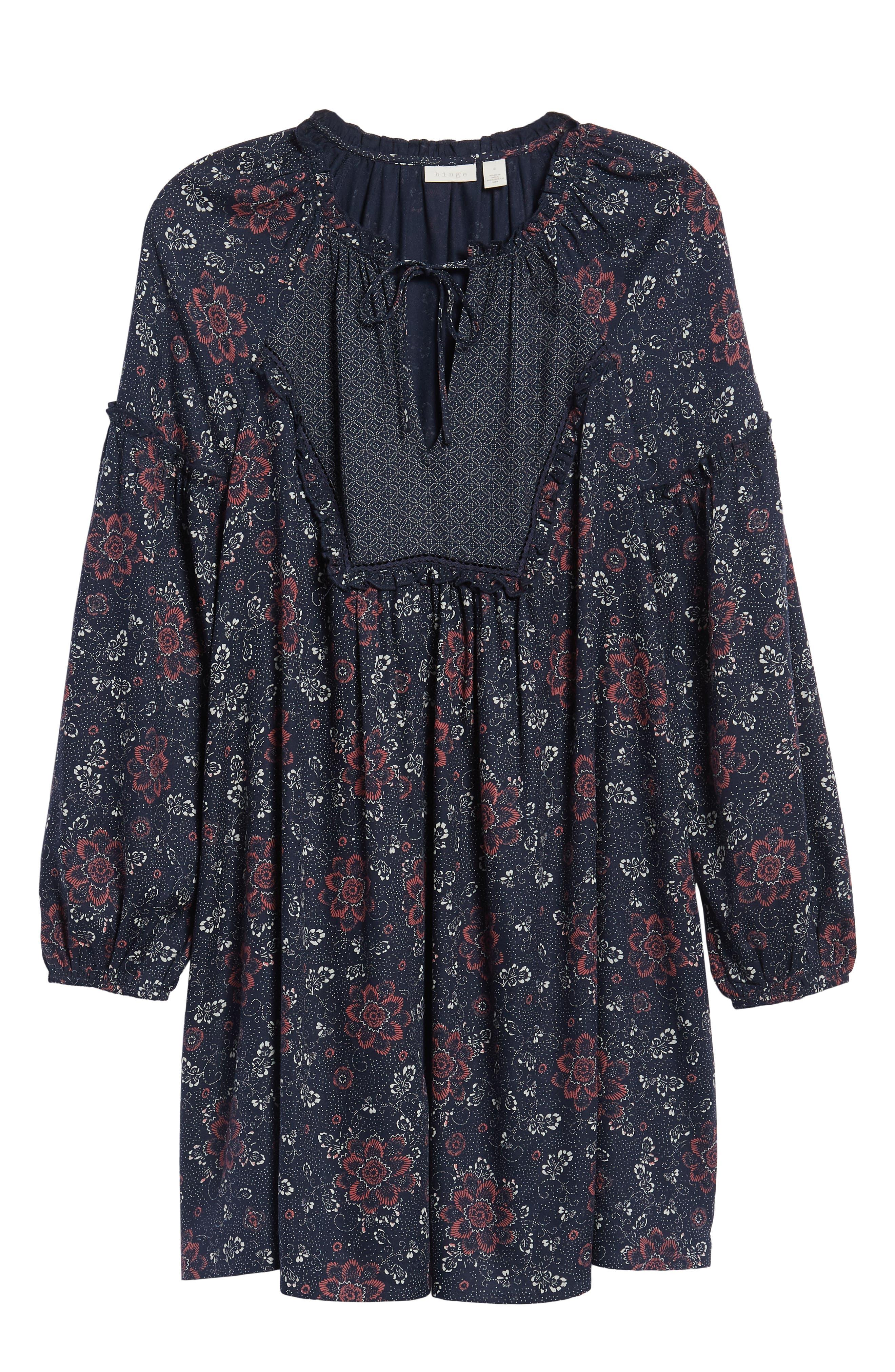 Mix Print Peasant Dress,                             Alternate thumbnail 7, color,                             NAVY NIGHT WOVEN FLORAL MIX