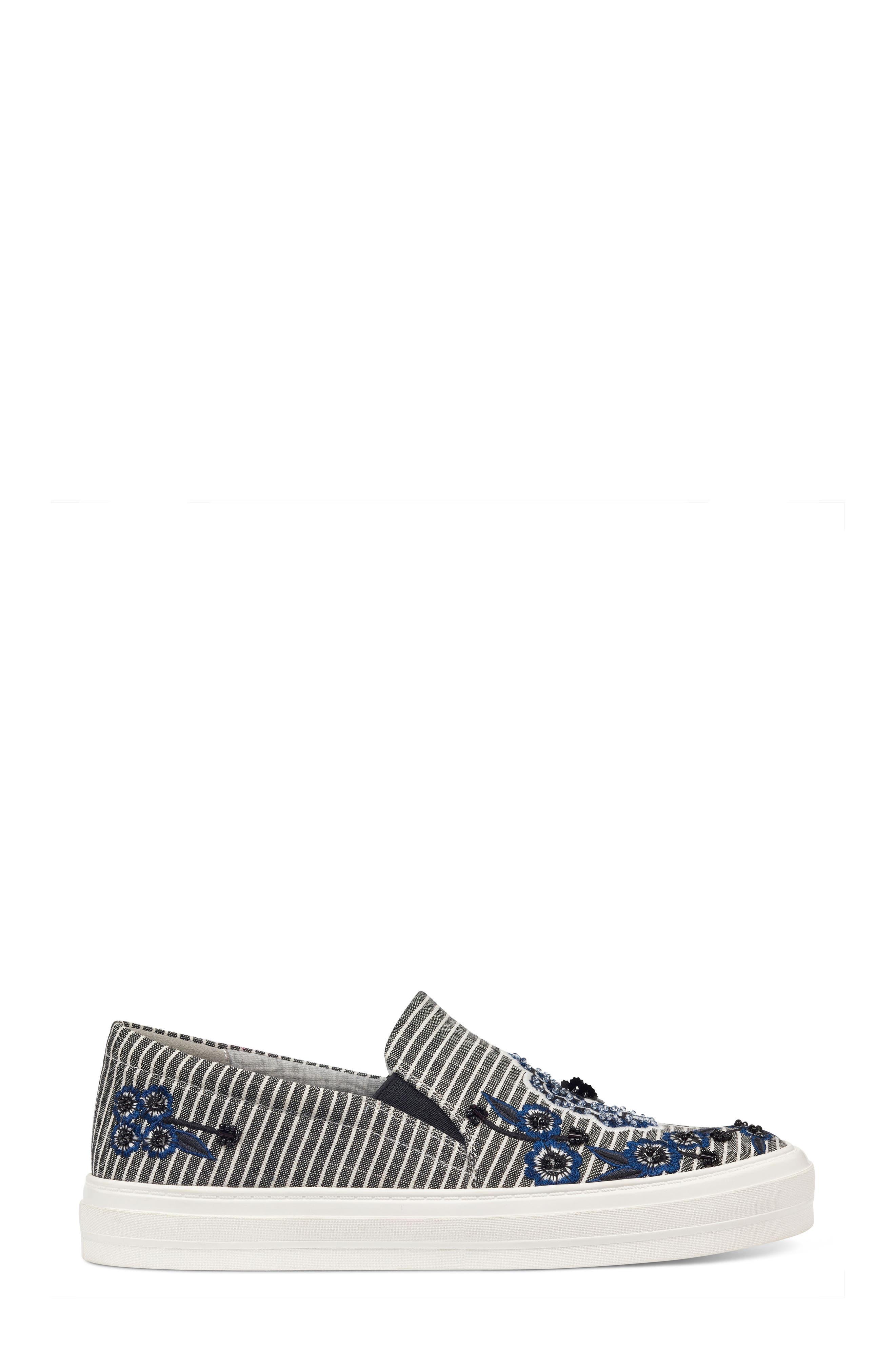 Onyeka Embroidered Slip-On Sneaker,                             Alternate thumbnail 3, color,                             001