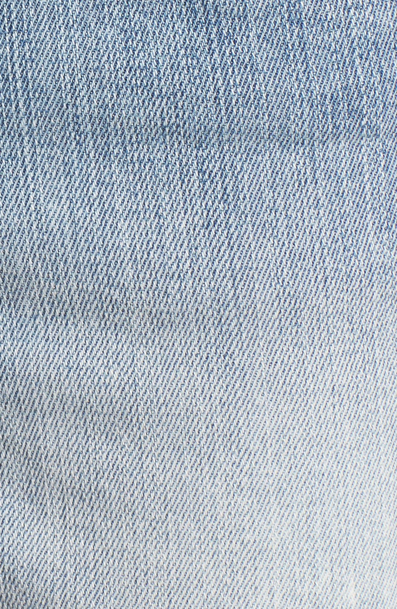 Fray Hem Denim Boyfriend Shorts,                             Alternate thumbnail 5, color,