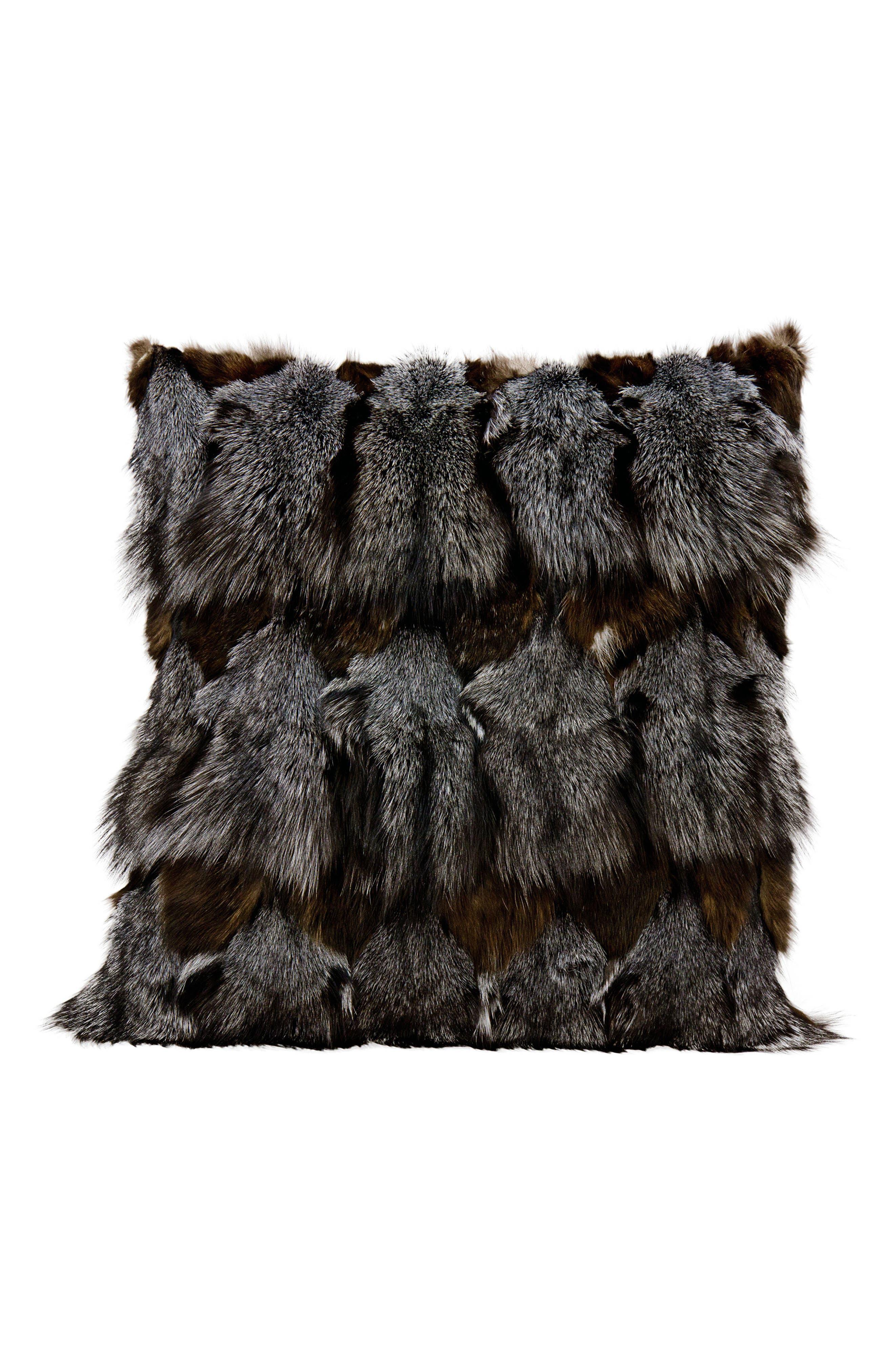 Genuine Fox Fur Pillow,                             Main thumbnail 1, color,                             030