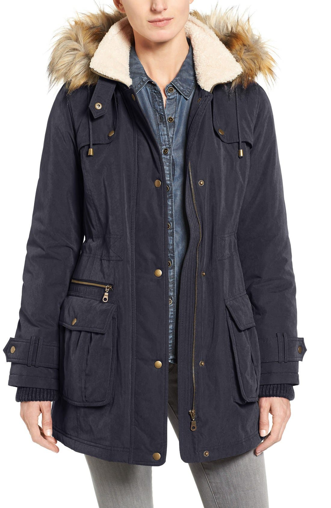 Hooded Anorak with Faux Fur Trim,                             Main thumbnail 3, color,