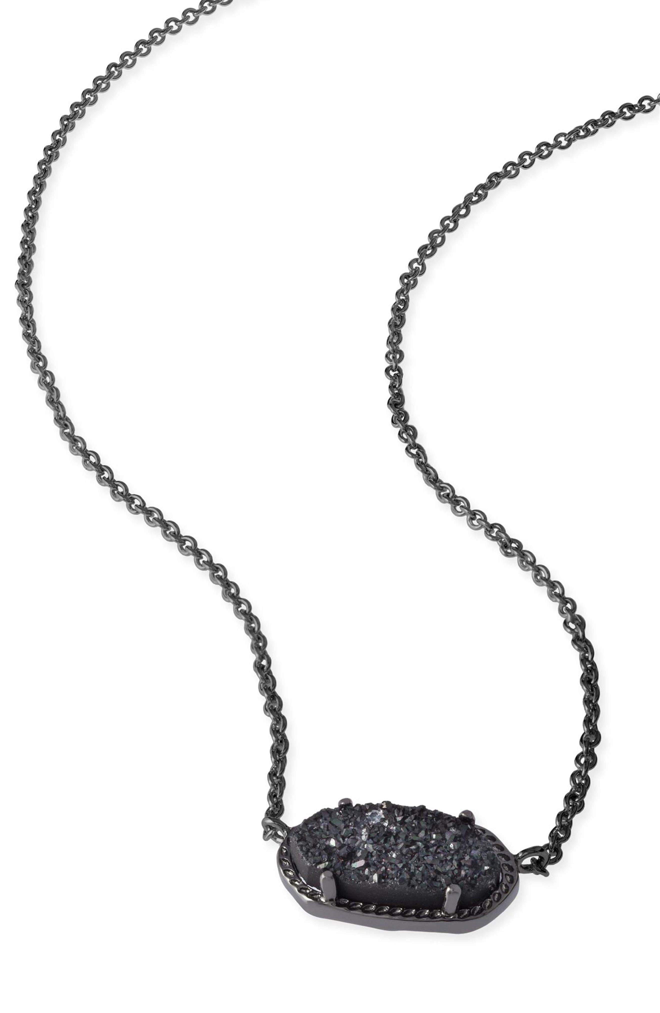 Elisa Filigree Pendant Necklace,                             Alternate thumbnail 3, color,                             GUNMETAL/ BLACK DRUSY