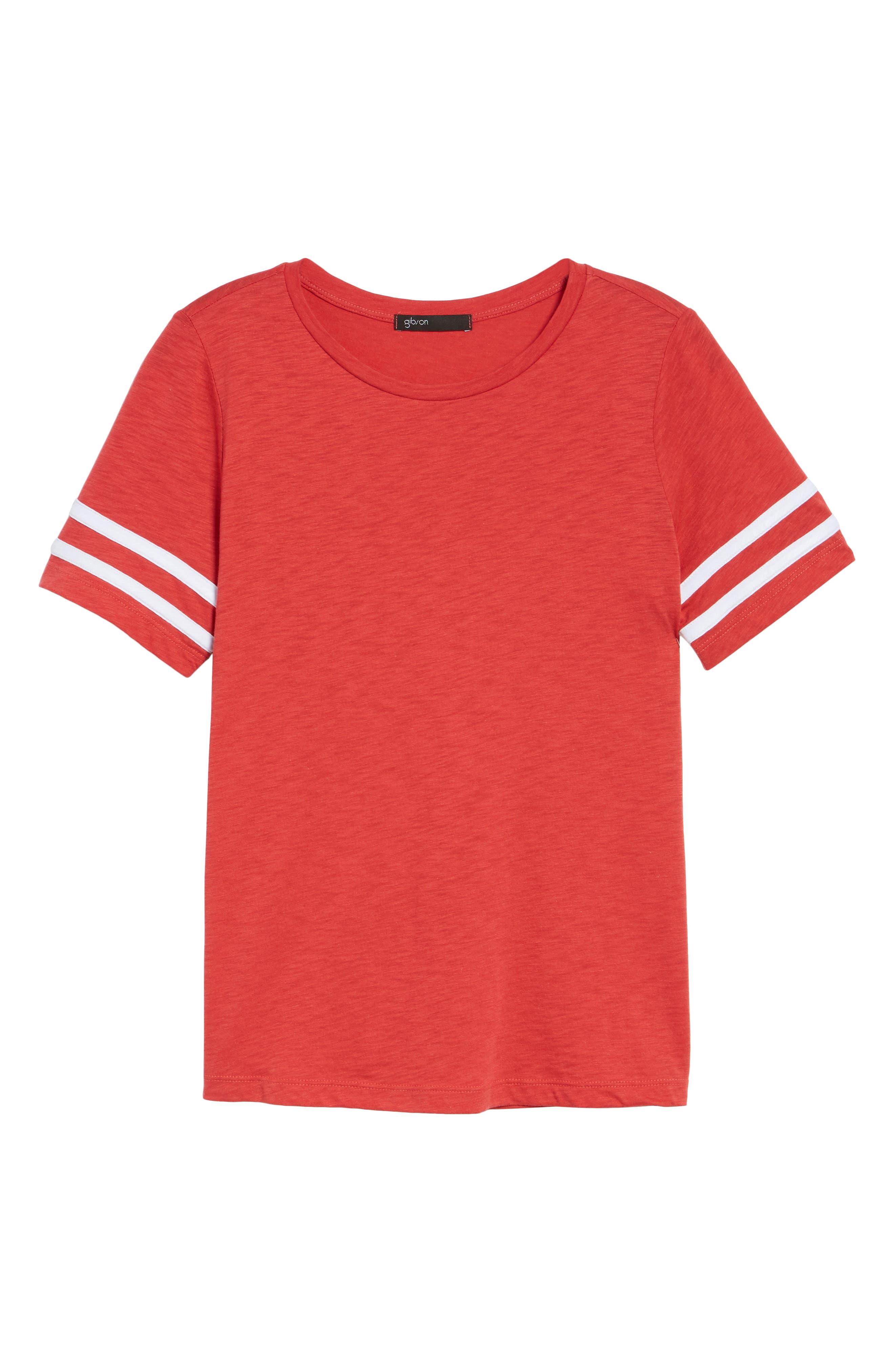 Stripe Sleeve Cotton Blend Athletic Tee,                             Alternate thumbnail 25, color,