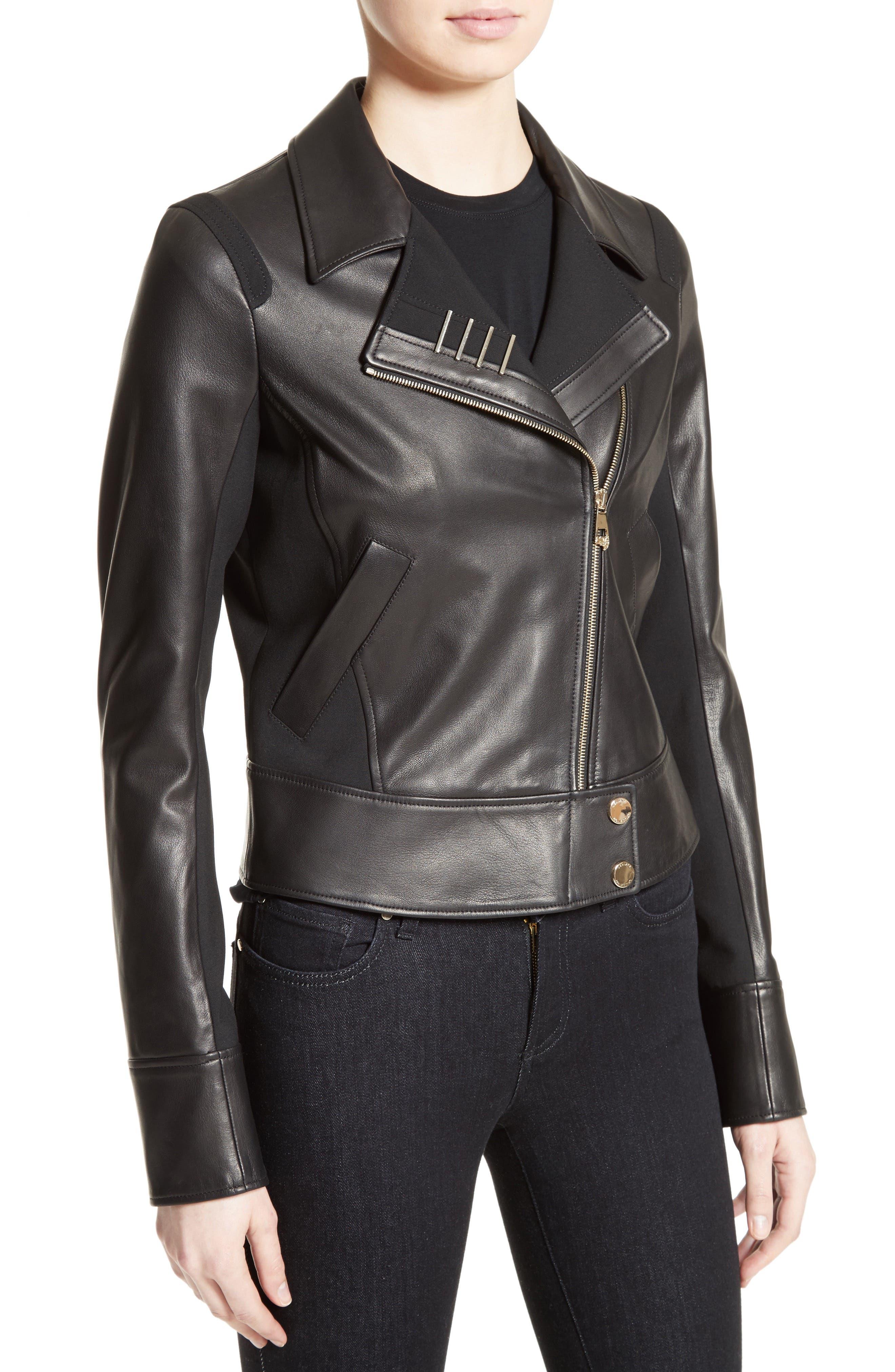 Asymmetrical Zip Leather Jacket,                             Alternate thumbnail 4, color,                             001