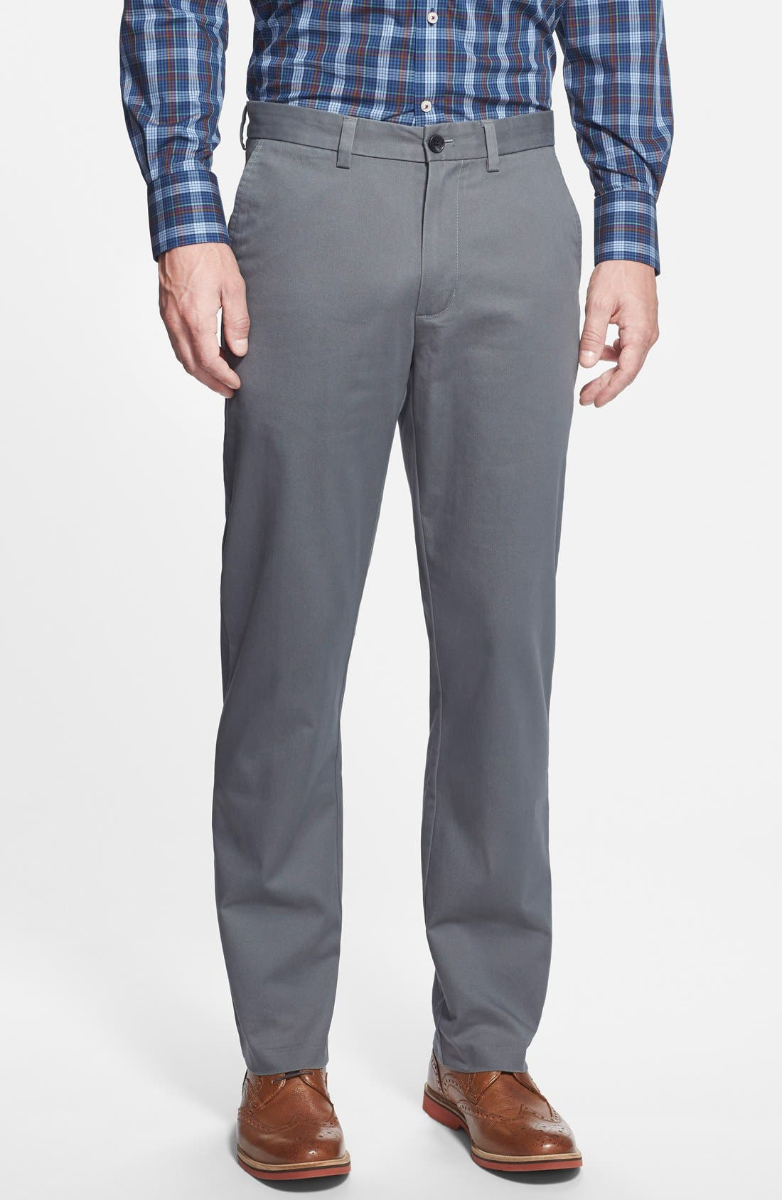 Wrinkle Free Straight Leg Chinos,                         Main,                         color, GREY CASTLEROCK