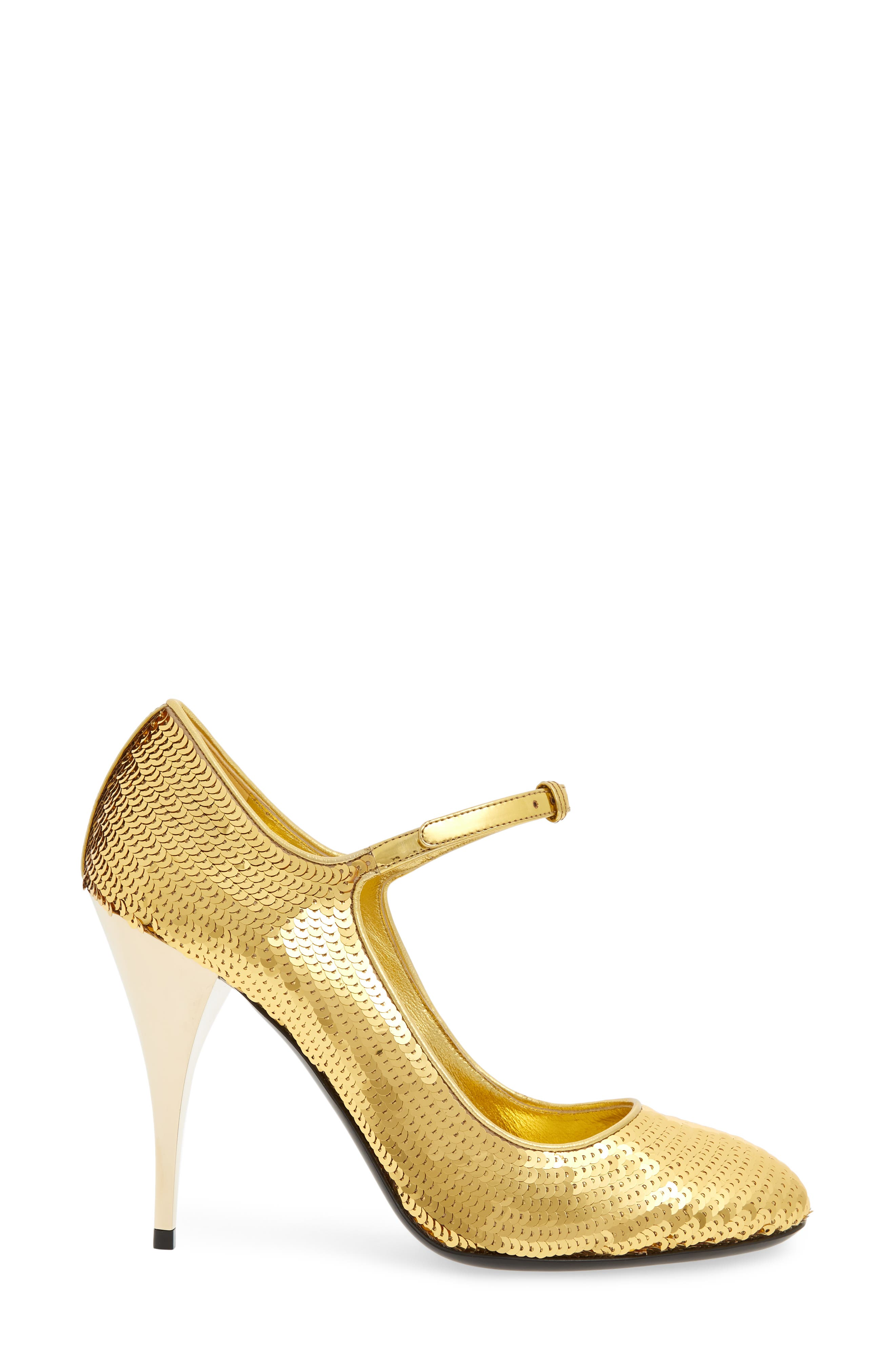 Sequin Mary Jane Pump,                             Alternate thumbnail 3, color,                             GOLD
