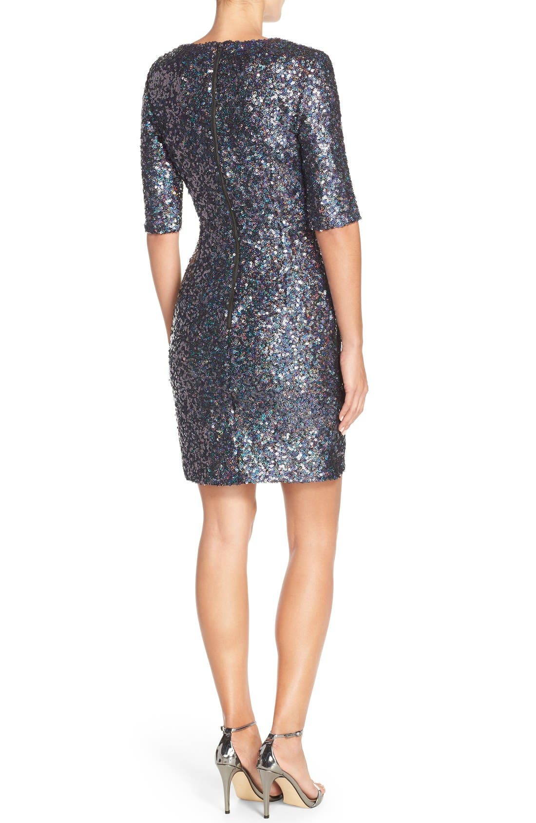 Sequin Mesh Faux Wrap Dress,                             Alternate thumbnail 3, color,