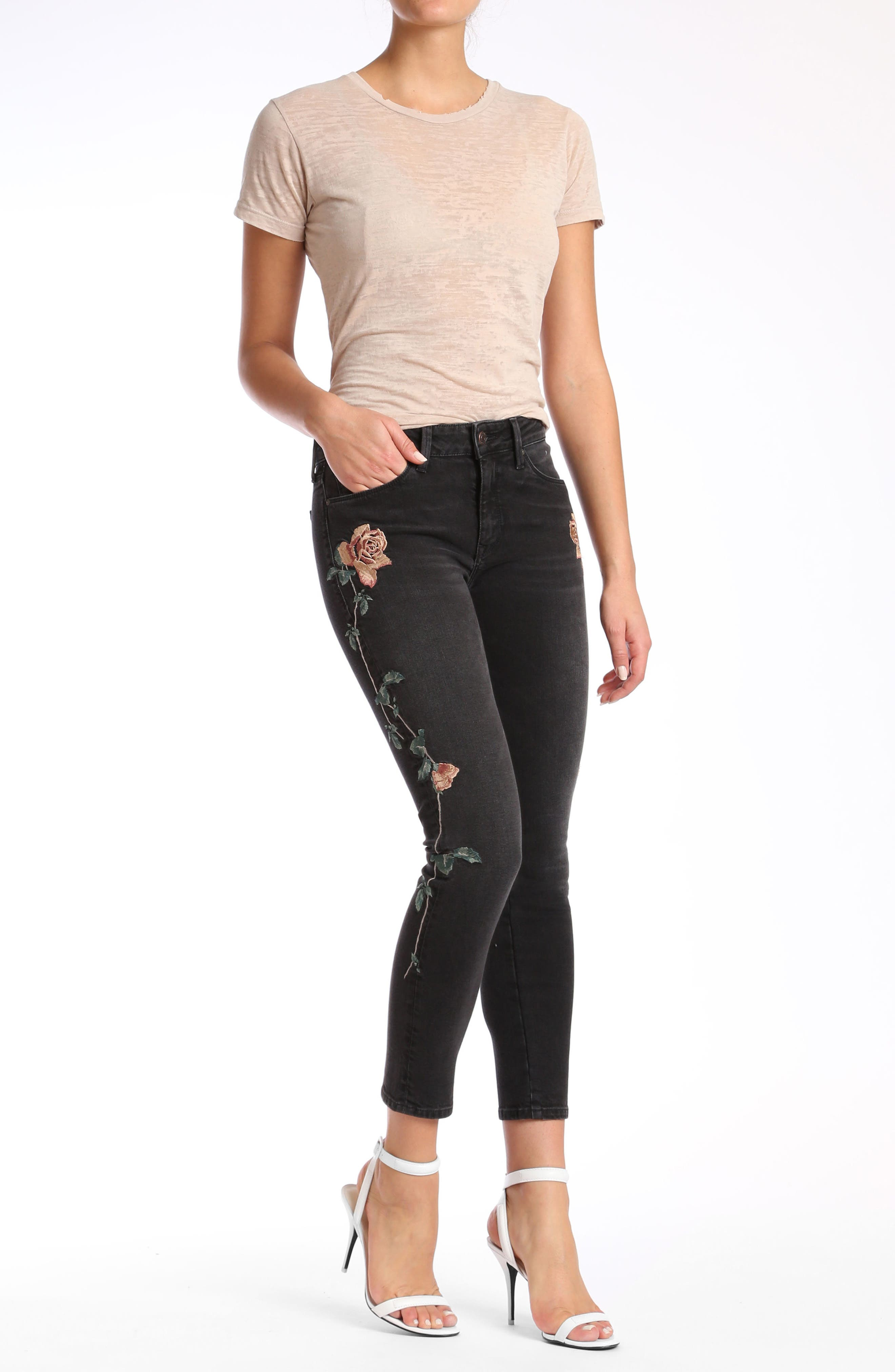 Adriana Embroidered Skinny Jeans,                             Alternate thumbnail 8, color,                             002