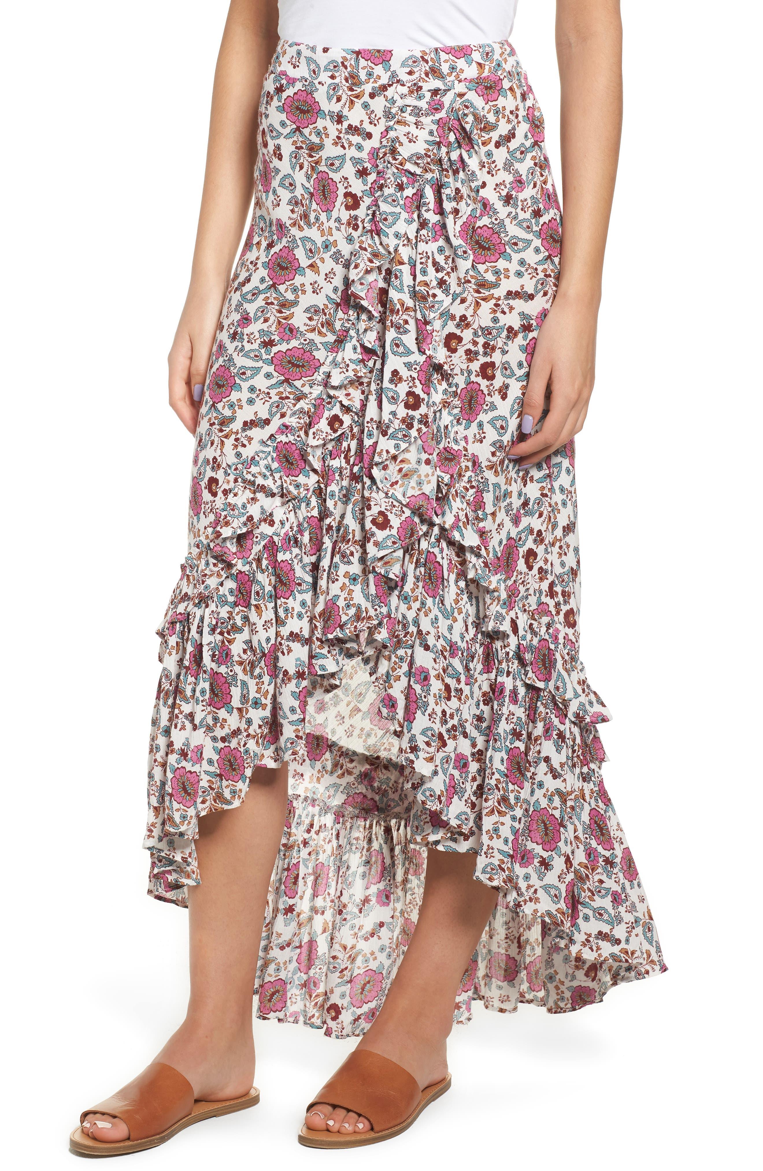 Summer Bloom Ruffle Skirt,                             Main thumbnail 1, color,                             650