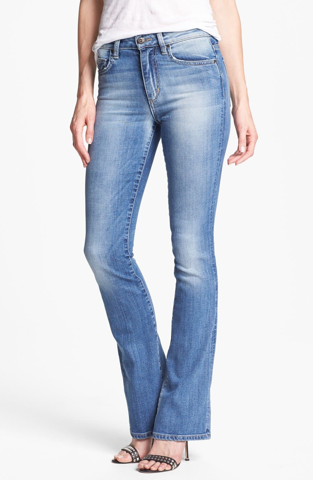 High Rise Skinny Flare Leg Jeans,                         Main,                         color, 410