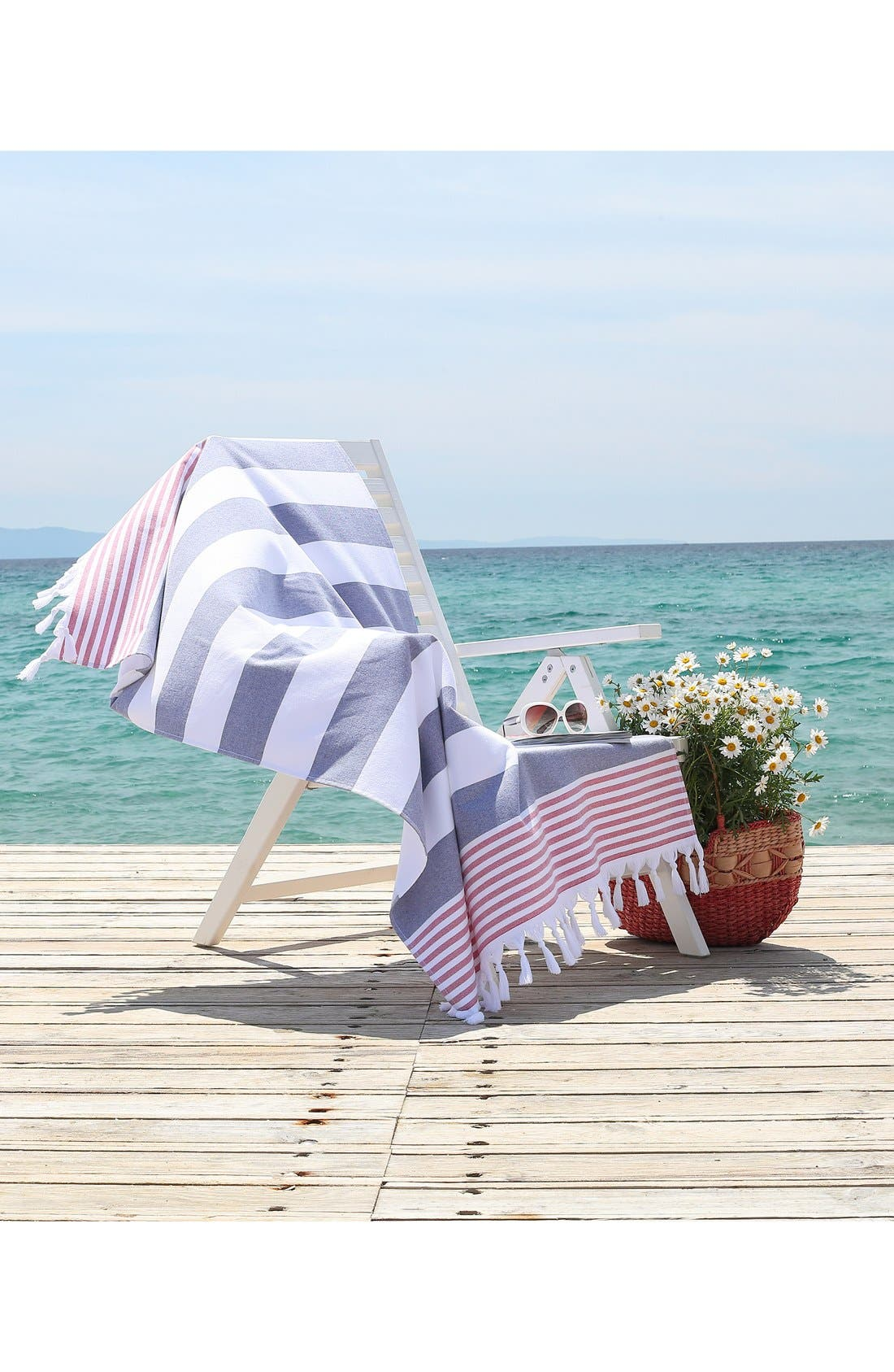'Patriotic' Turkish Pestemal Towel,                             Alternate thumbnail 3, color,                             OCEAN BLUE