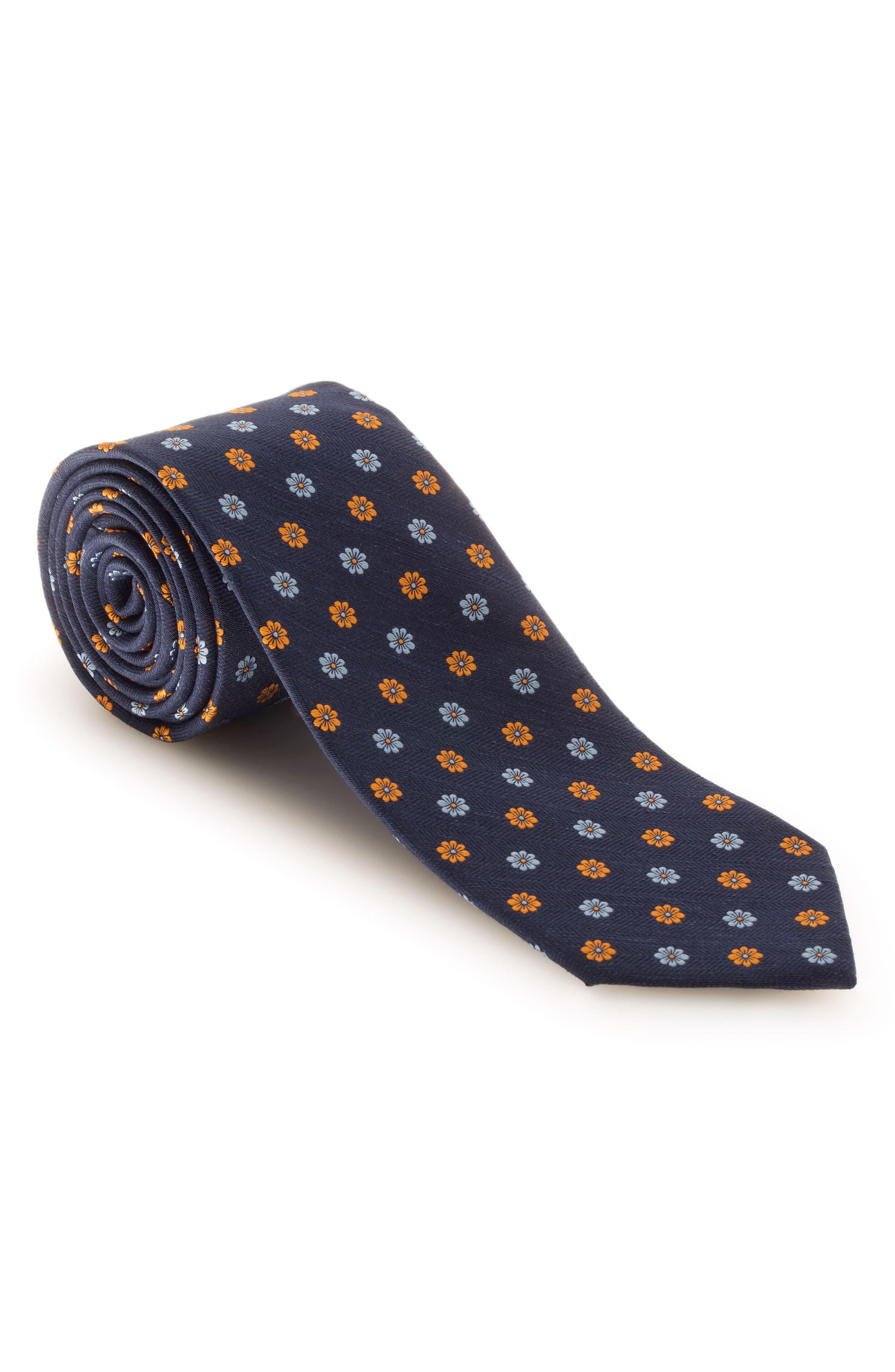 Floral Silk & Linen Tie,                         Main,                         color, 401
