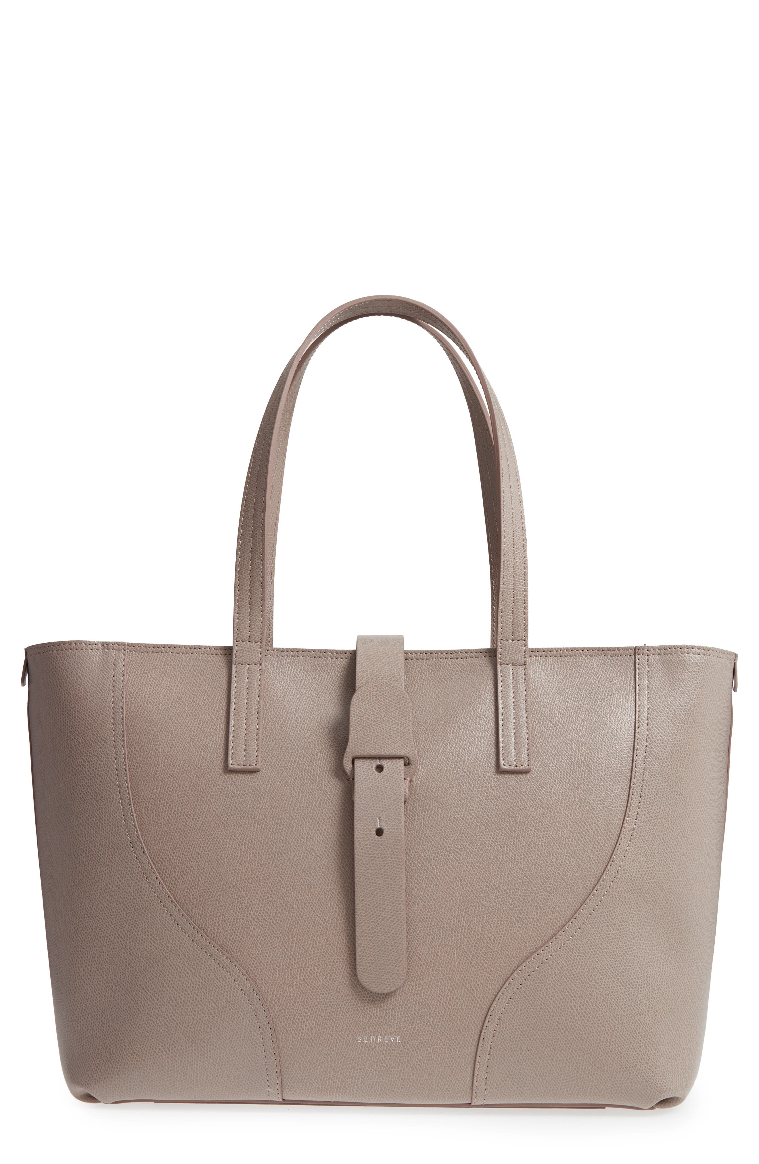 Voya Pebbled Leather Tote,                             Main thumbnail 1, color,                             SAND