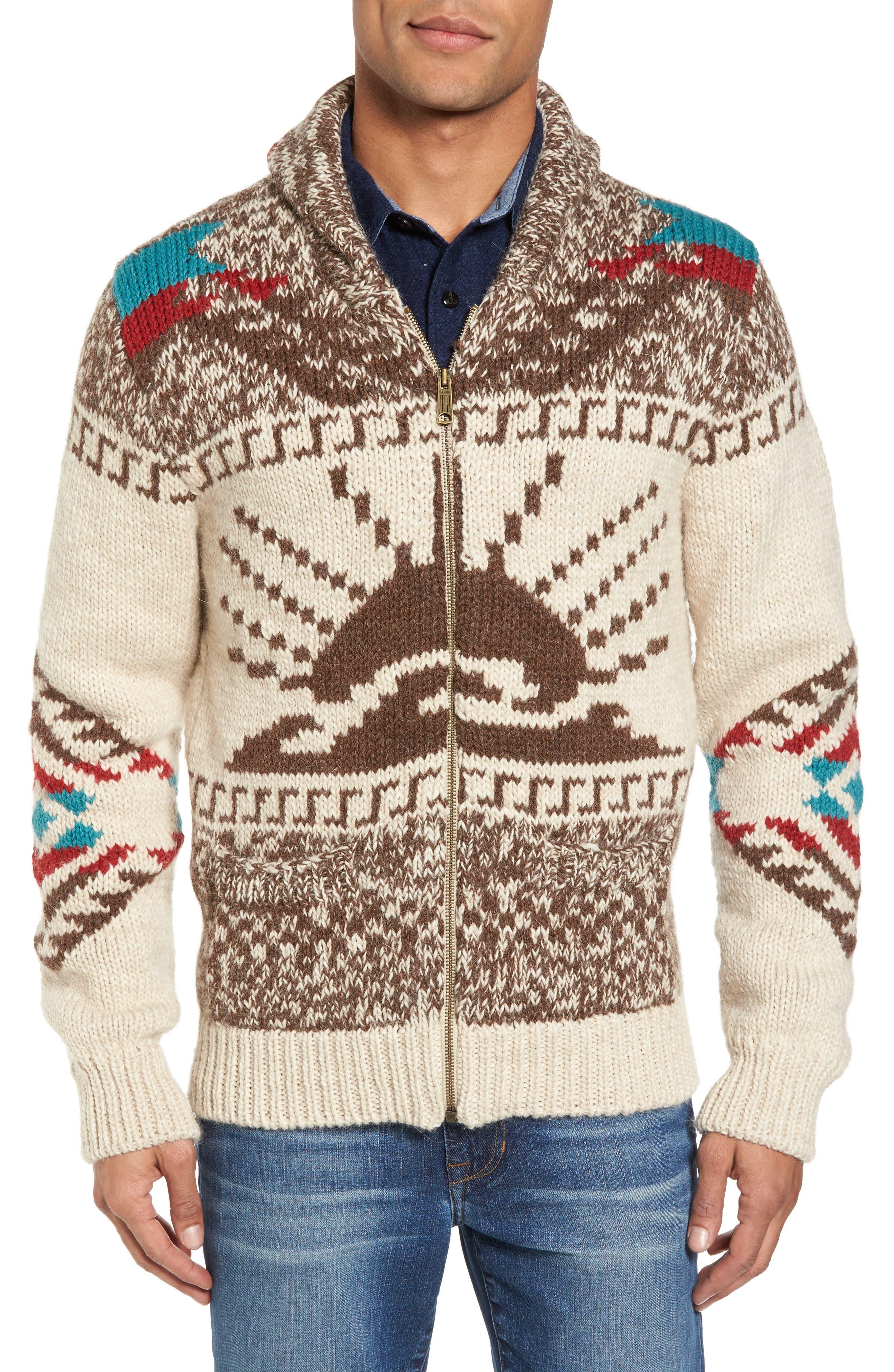 Sun & Wave Cowichan Zip Front Cardigan,                         Main,                         color, 200