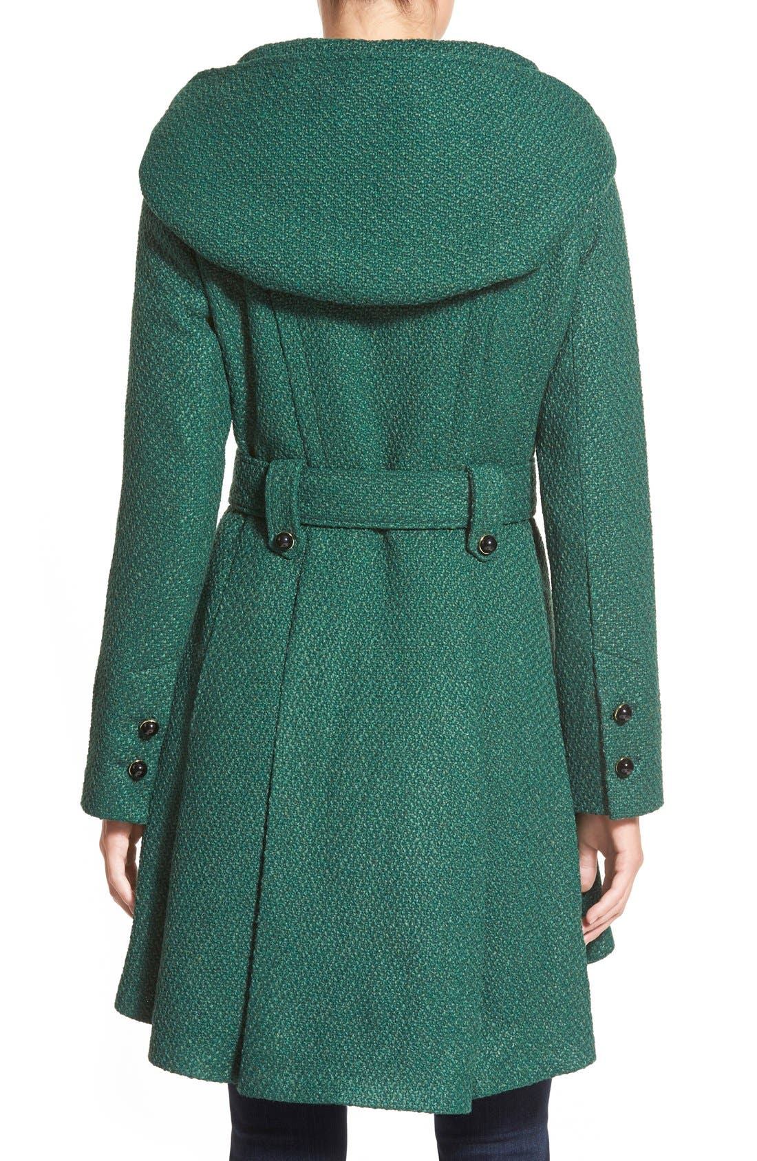 Belted Hooded Skirted Coat,                             Alternate thumbnail 31, color,