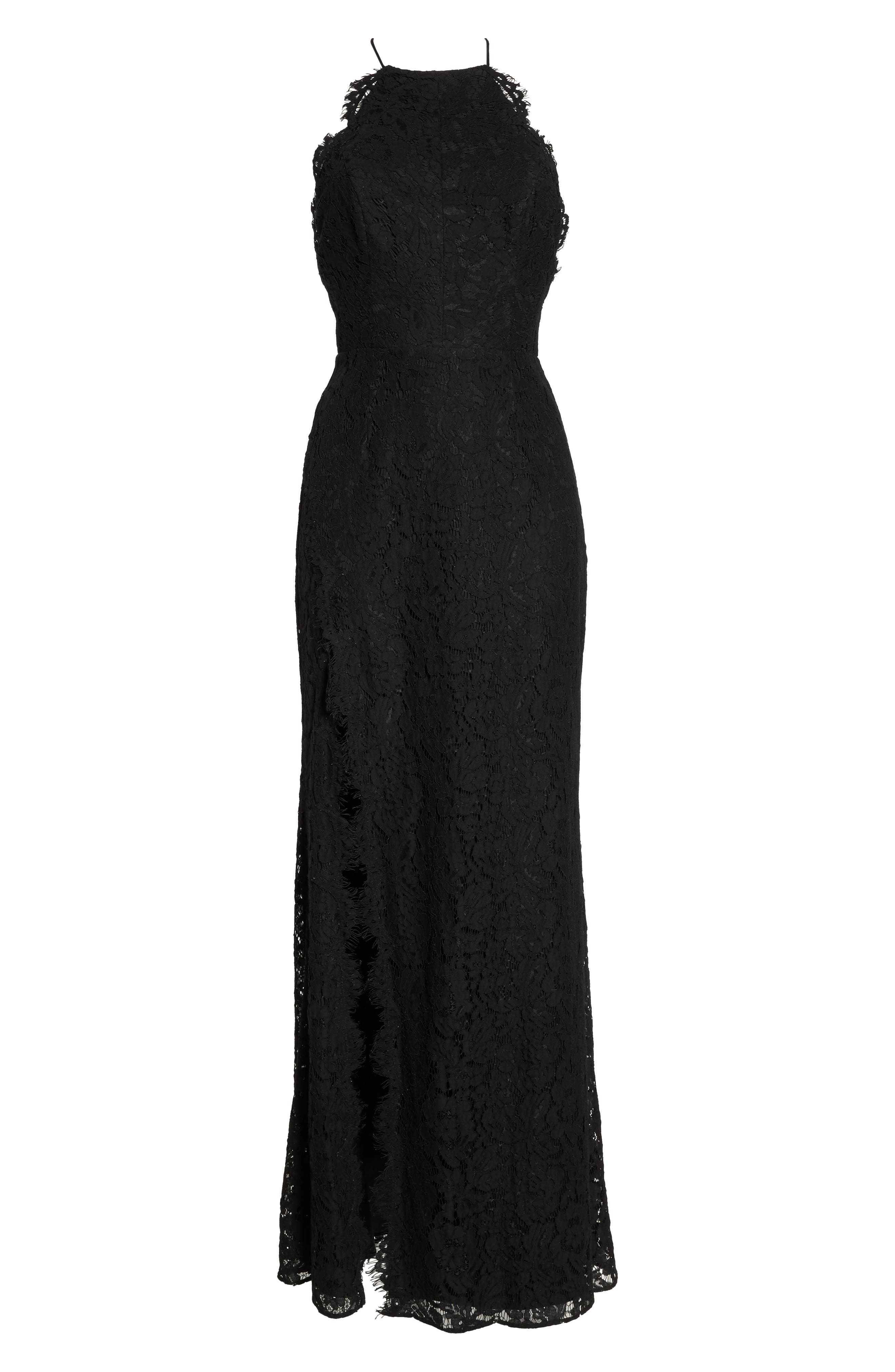 Dragon Eyes Lace Column Gown,                             Alternate thumbnail 6, color,                             BLACK