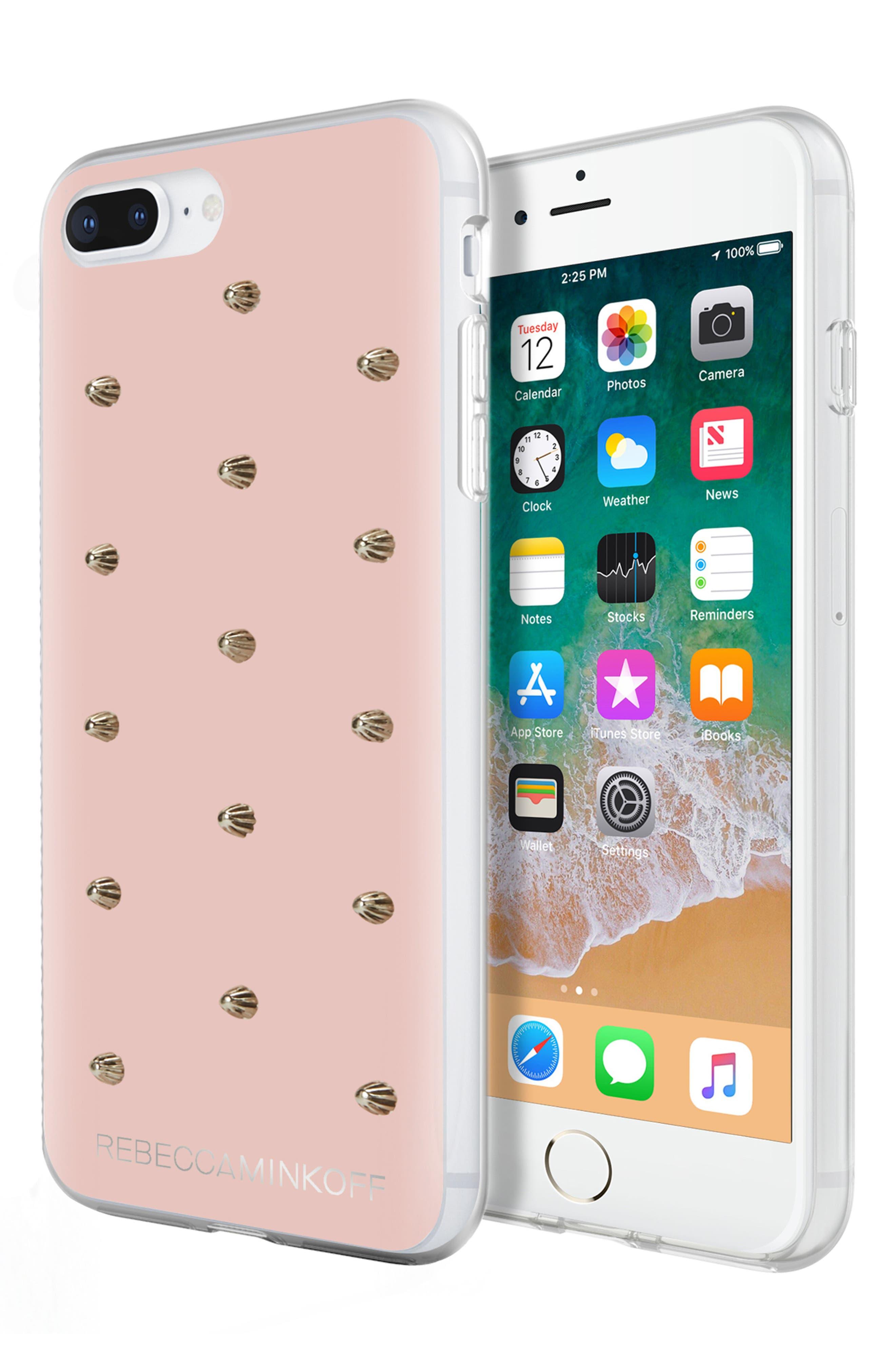 Flower Stud iPhone 7/8 & 7/8 Plus Case,                             Alternate thumbnail 7, color,                             ROSE GOLD/ GOLD STUDS